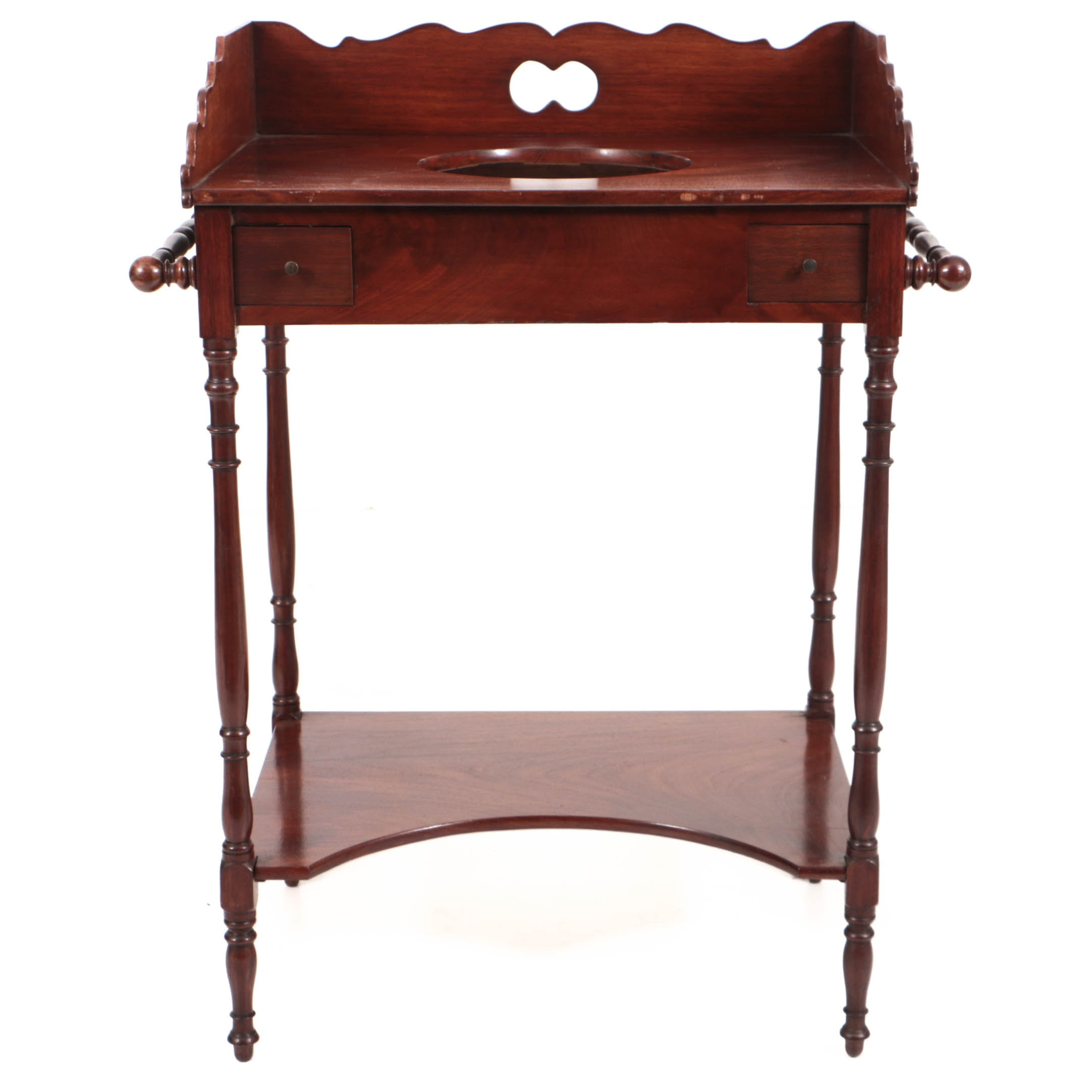 Antique Early Victorian Mahogany Two-Tier Washstand