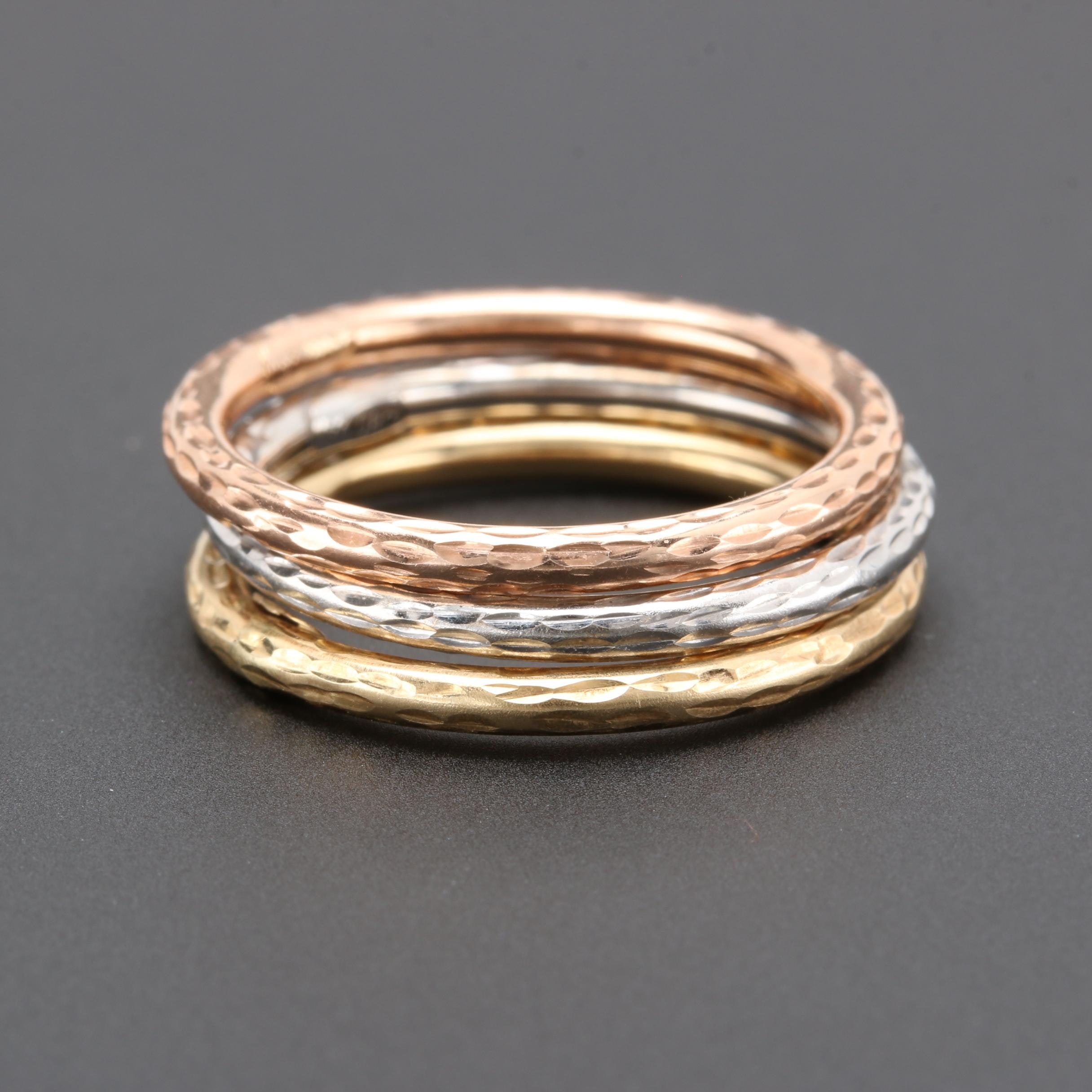 14K Rose, White, and Yellow Gold Rings