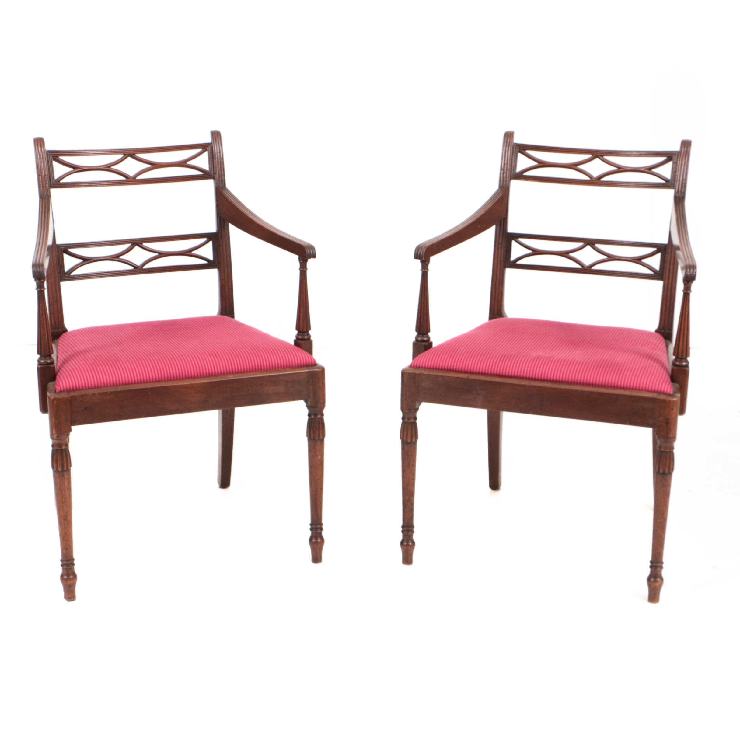Antique Federal Style Carved Mahogany Open Armchairs