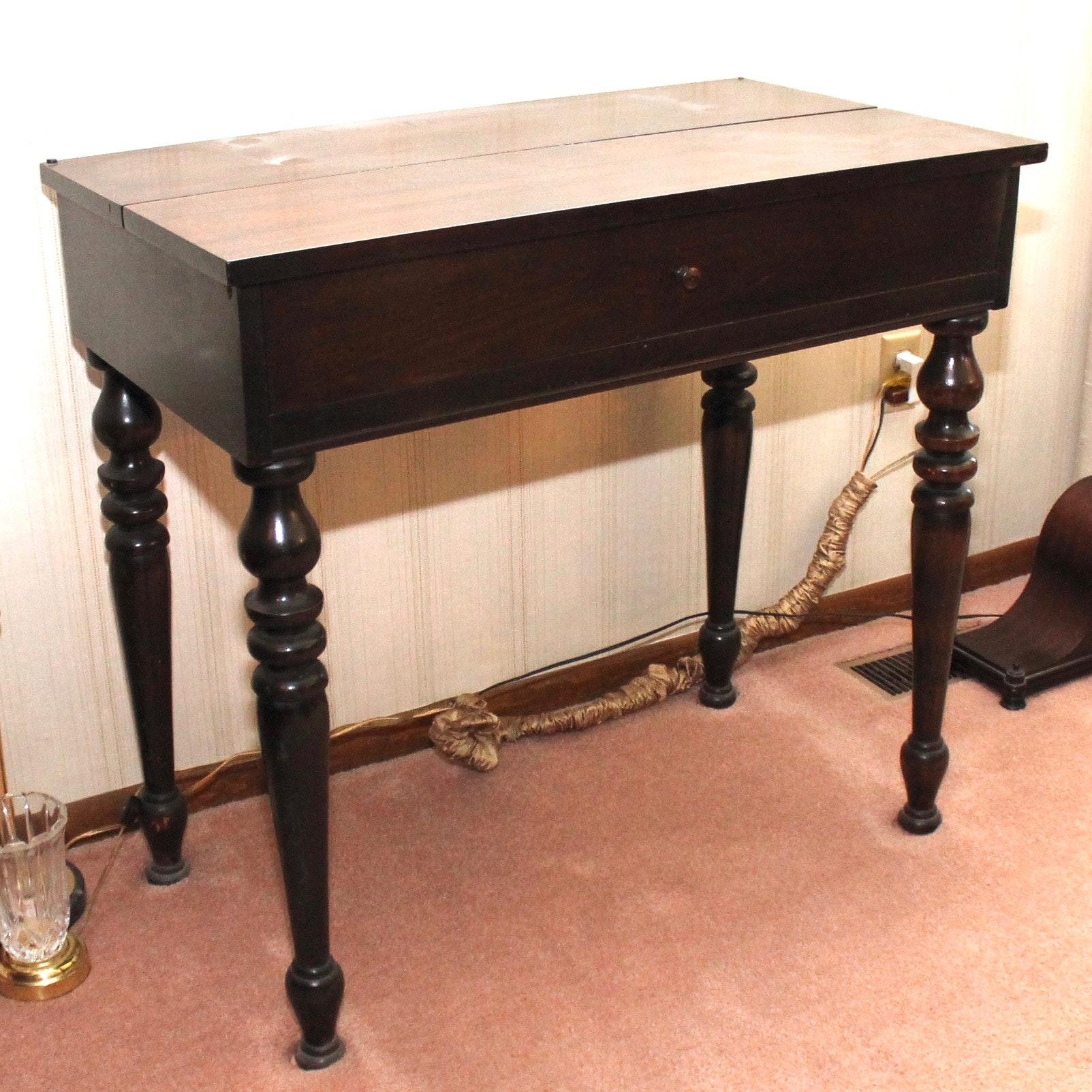 Antique Sheraton Style Mahogany Veneer Spinet Desk