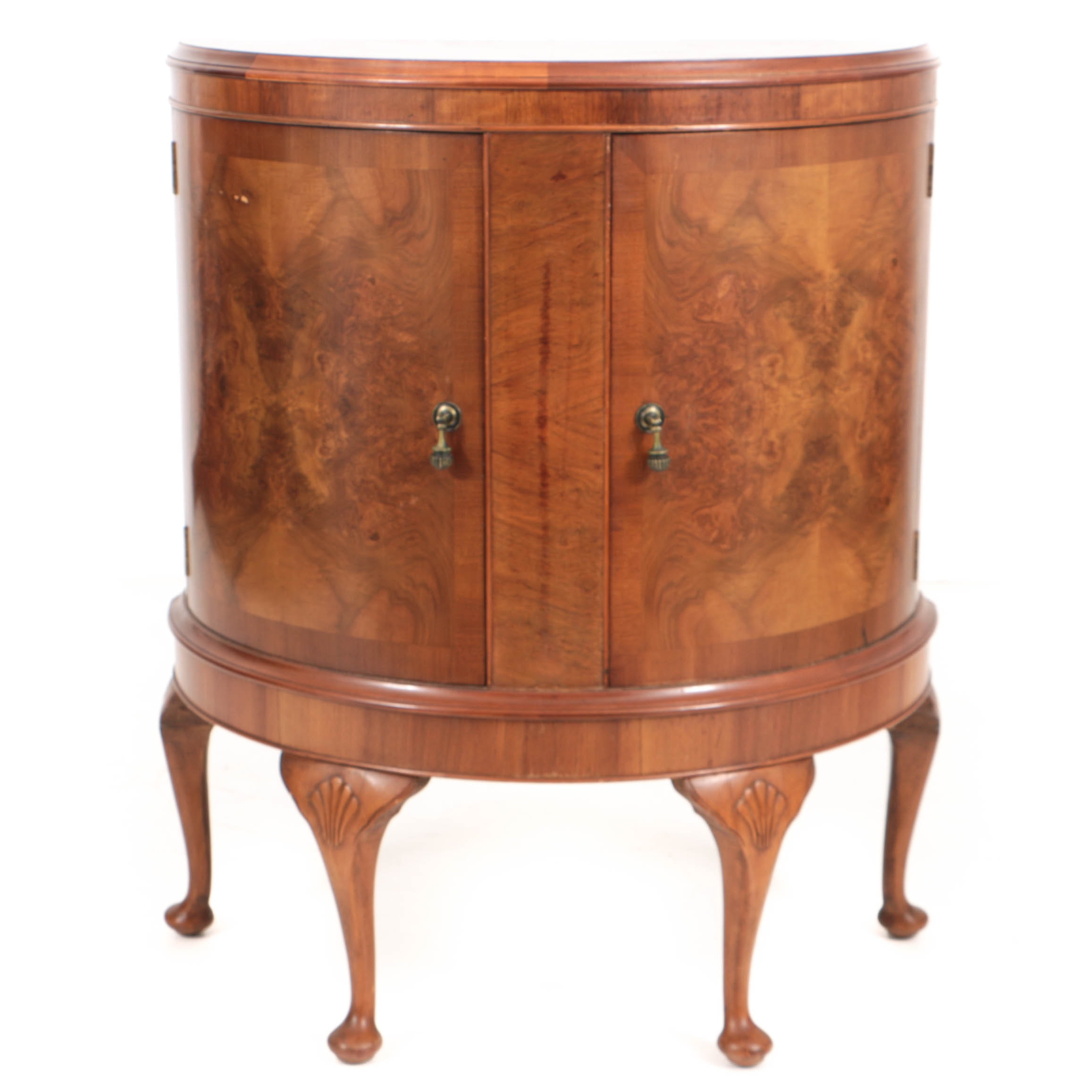Vintage Queen Anne Style Crossbanded and Burl-Veneered Demilune Cabinet