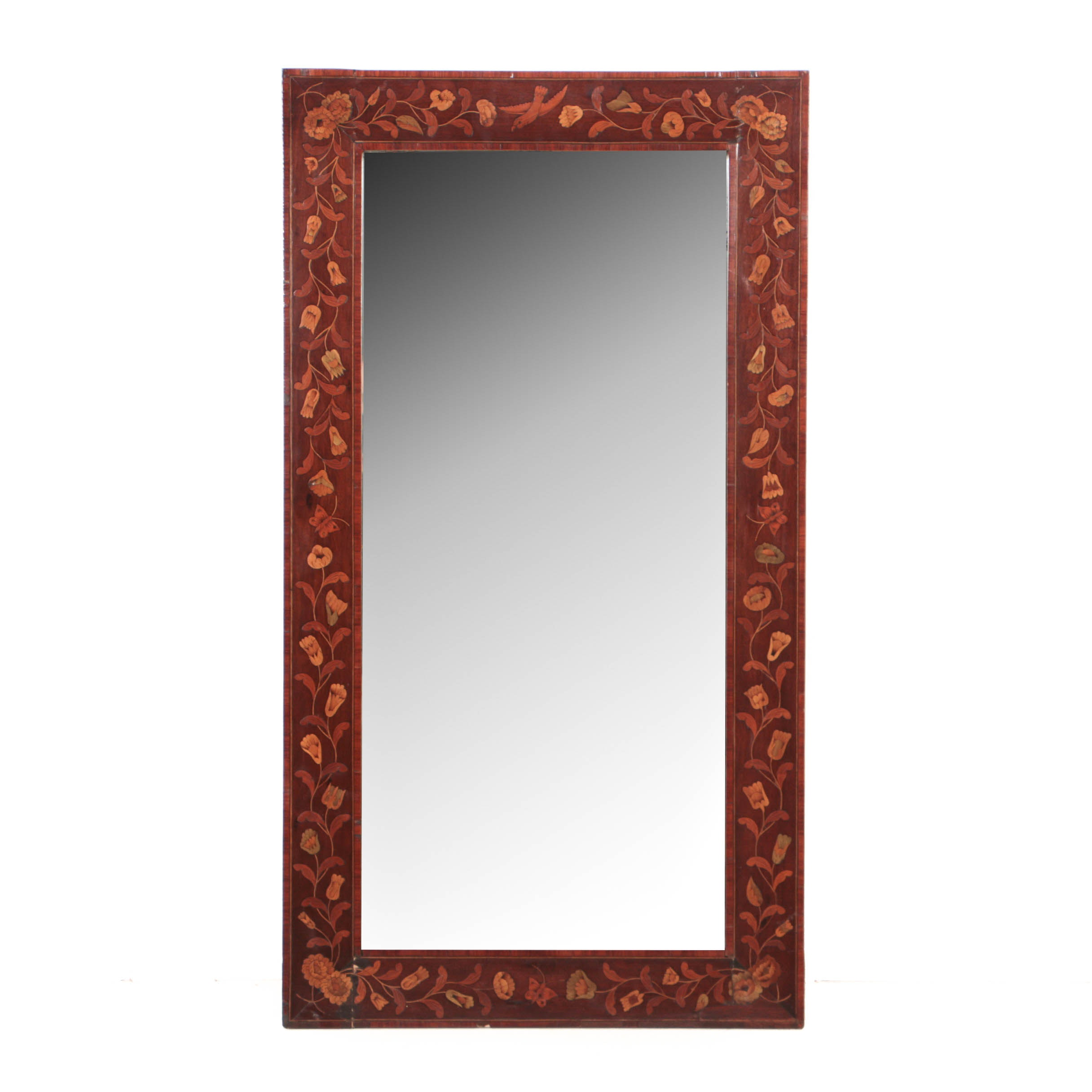 Antique Dutch Mahogany and Marquetry Mirror