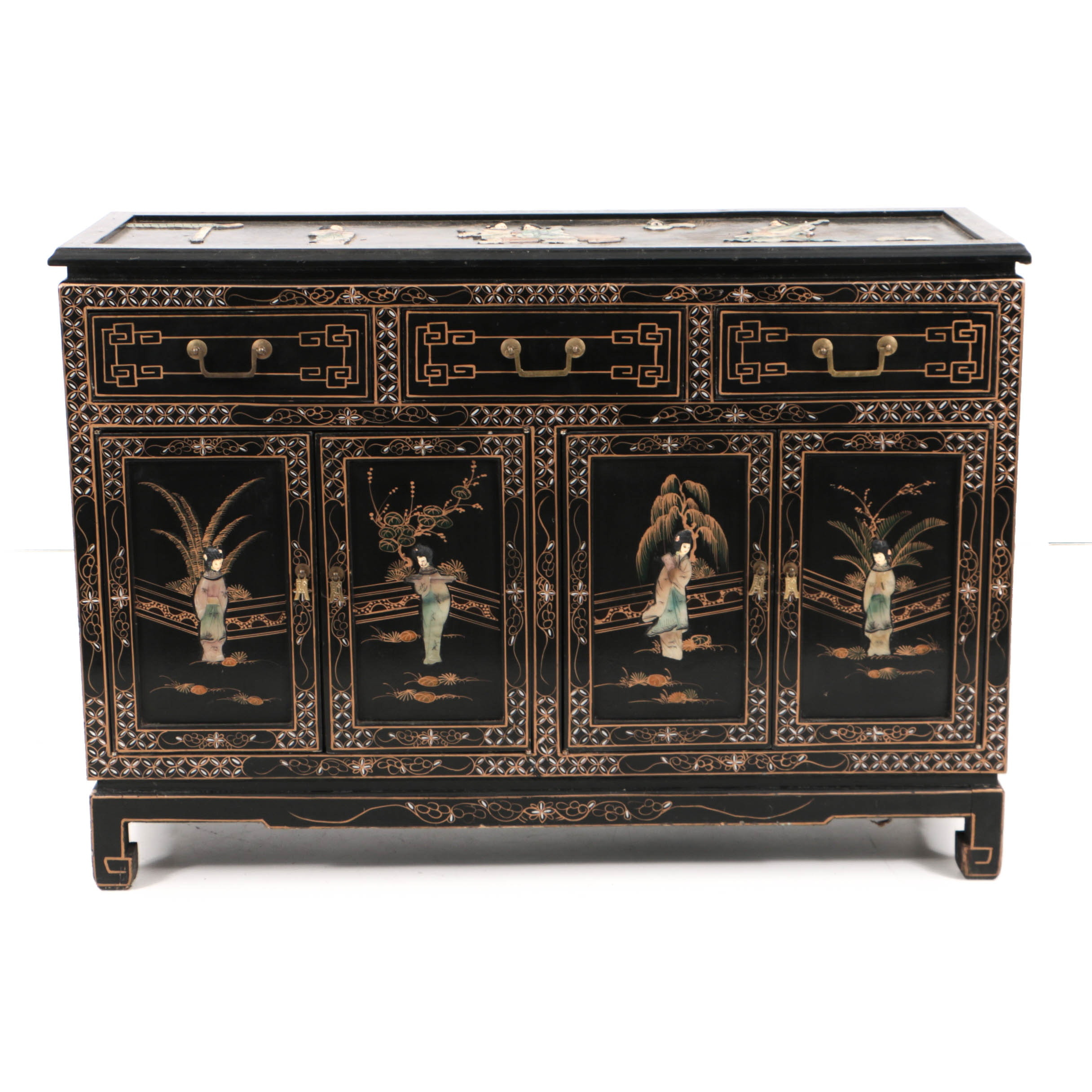 Vintage Lacquered and Hand-Painted Chinoiserie Cabinet with Hard Stone Appliqués