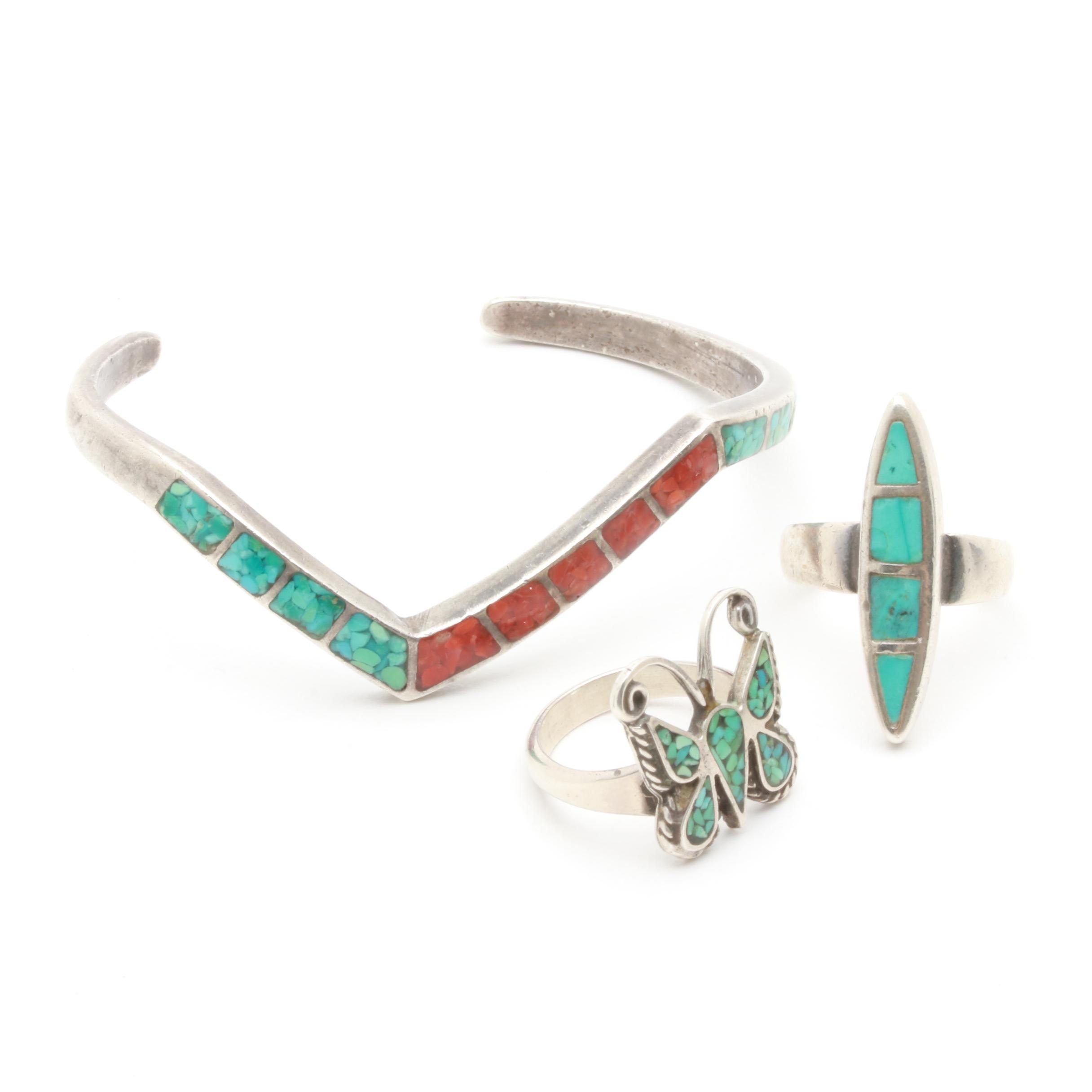 Southwestern Style Sterling Silver Stabilized Turquoise and Stone Inlay Jewelry