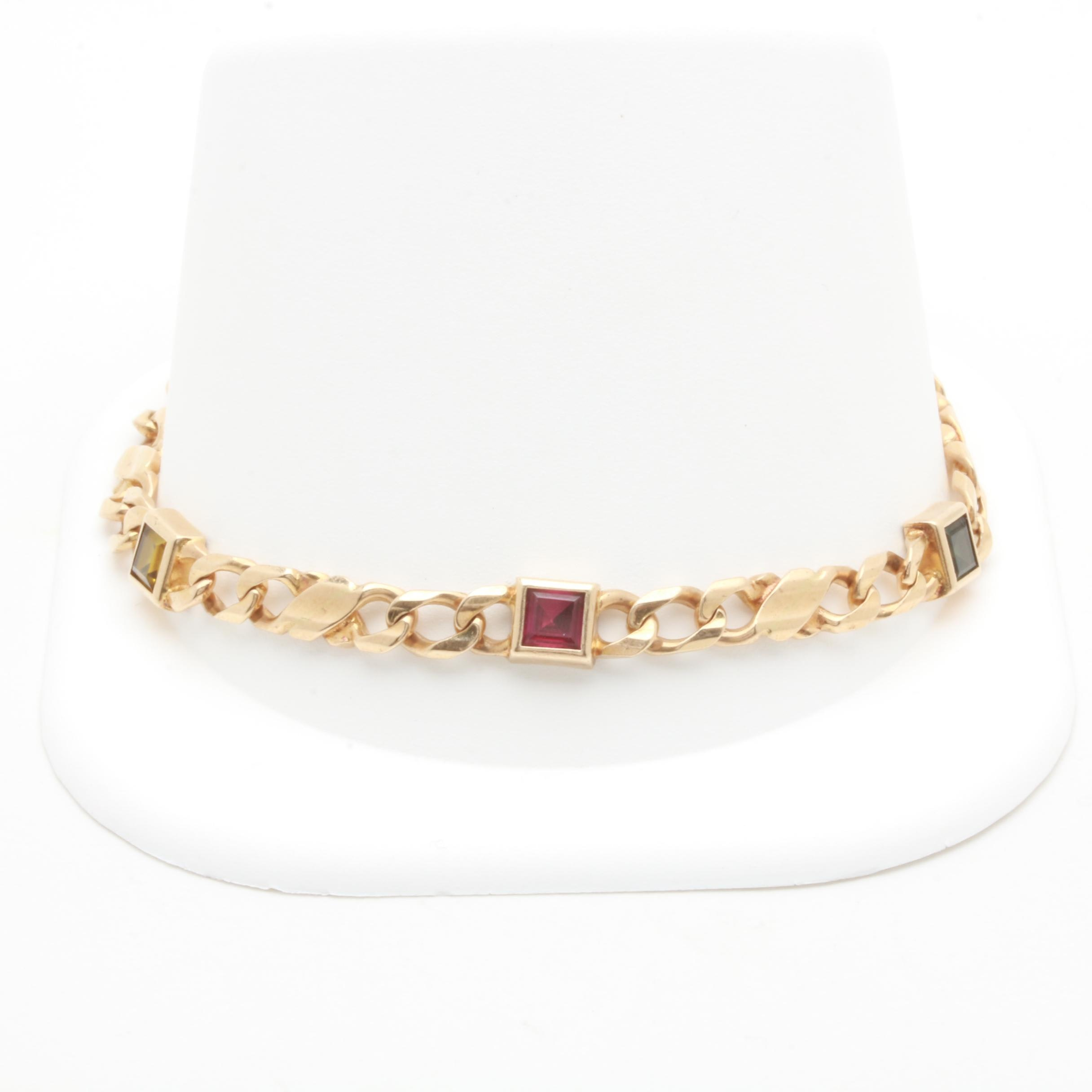 14K Yellow Gold Synthetic Sapphire, Synthetic Spinel and Synthetic Ruby Bracelet