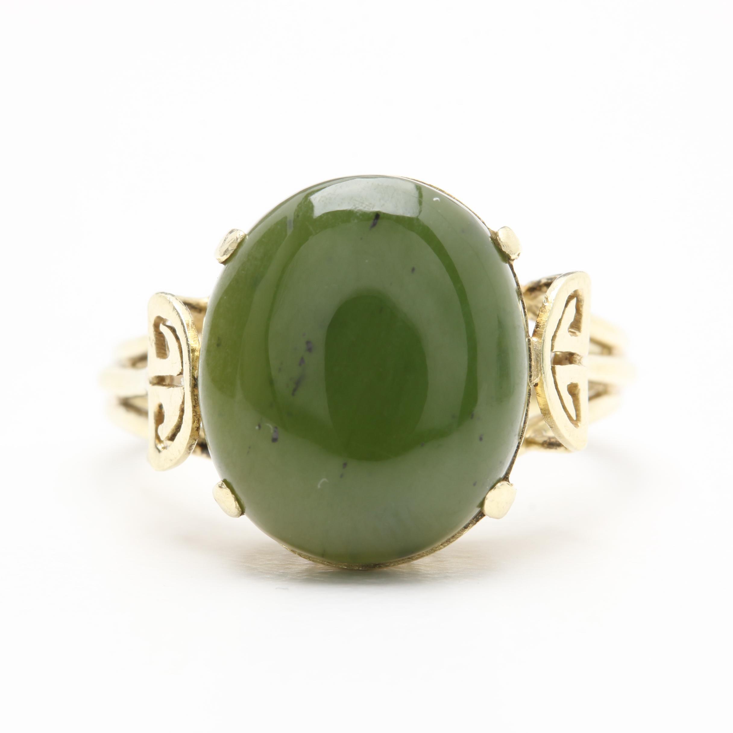 14K Yellow Gold Nephrite Ring