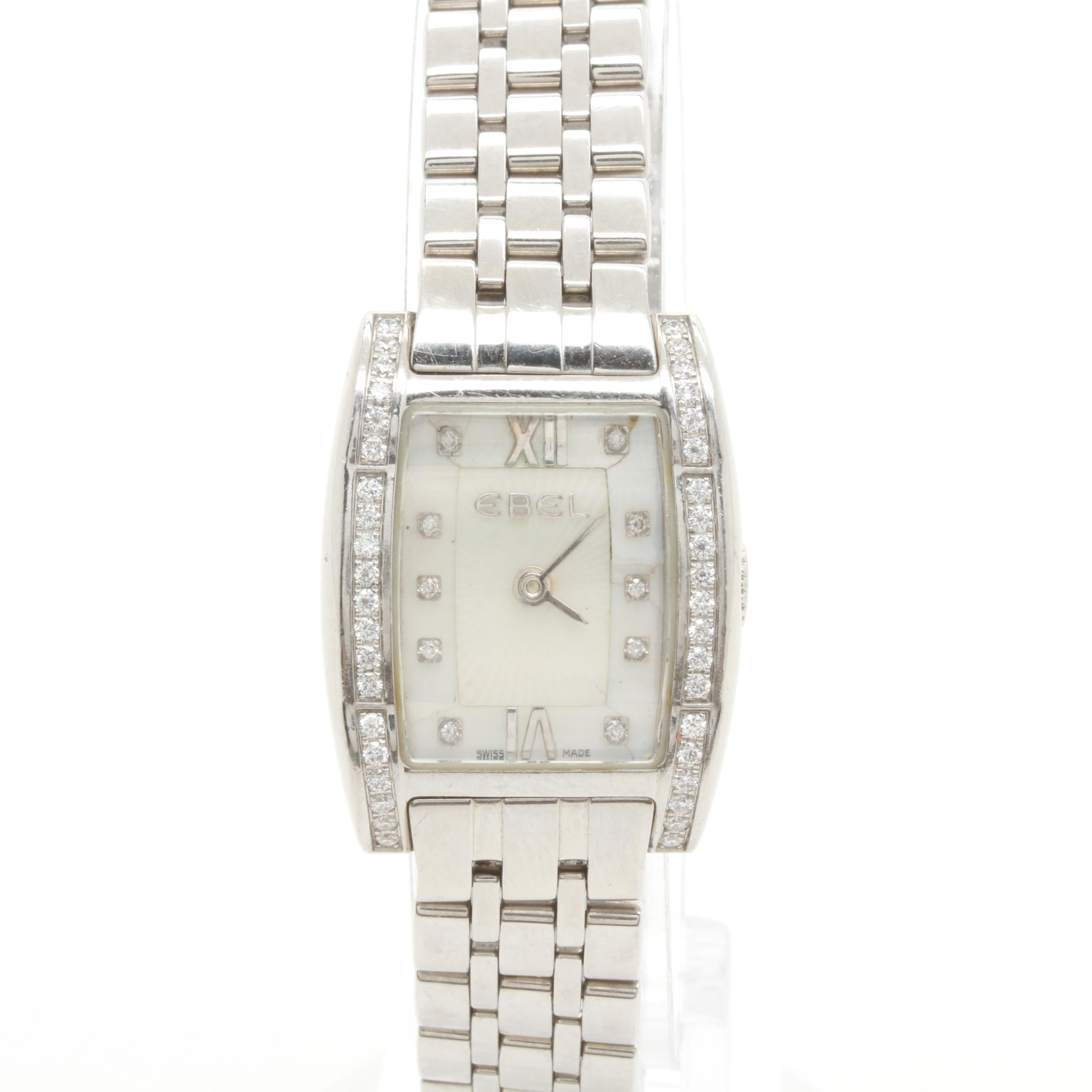 "Ebel ""Tarawa"" Stainless Steel Diamond and Mother of Pearl Wristwatch"