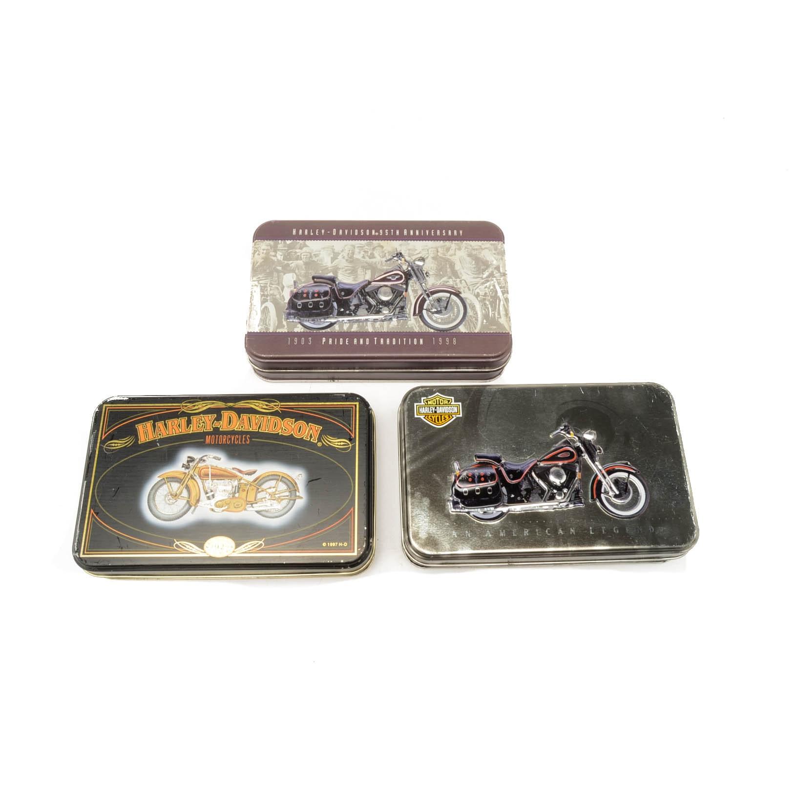 Six Harley Davidson Sealed Decks of Playing Cards In Metal Tins