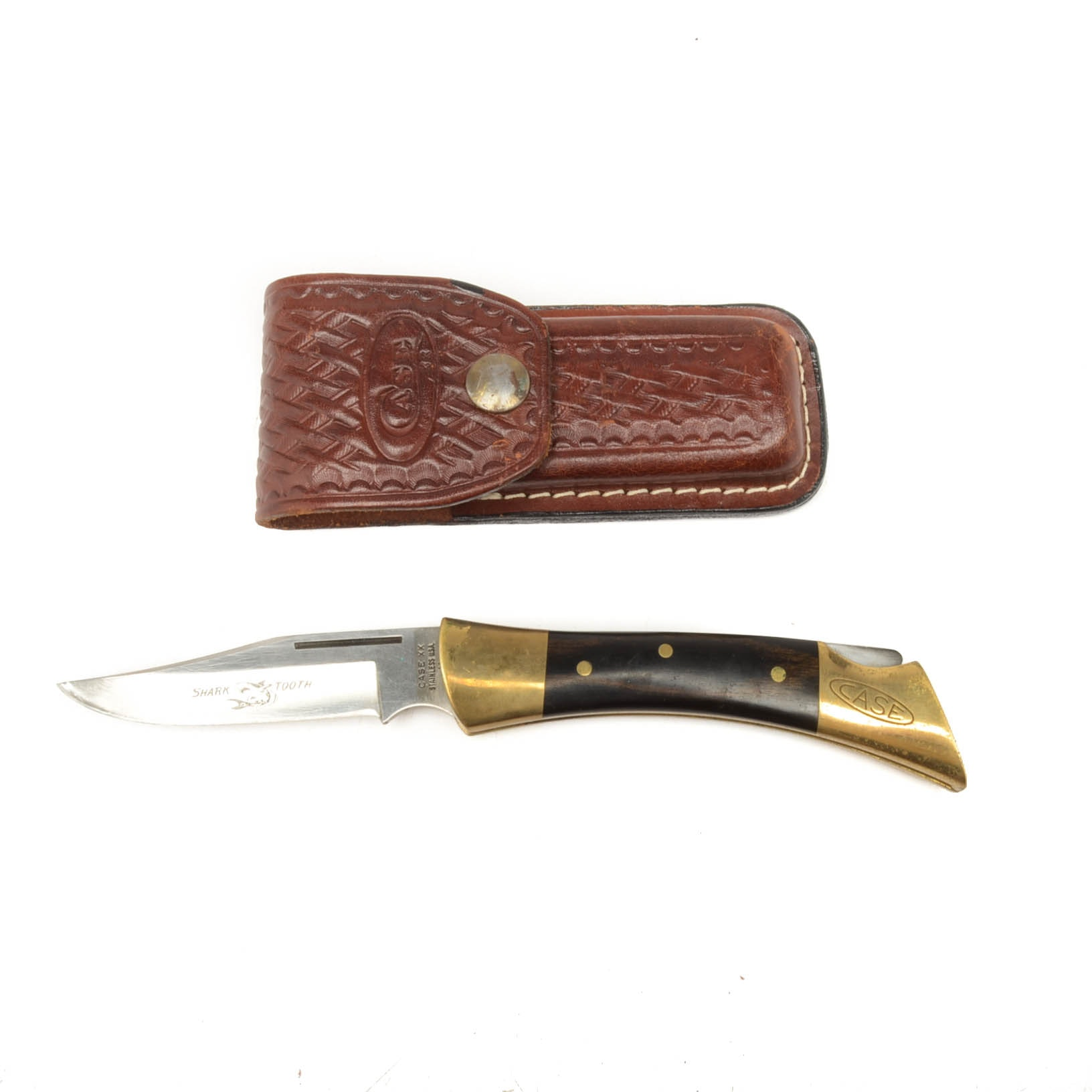 Case Shark Tooth Utility Knife With Leather Case