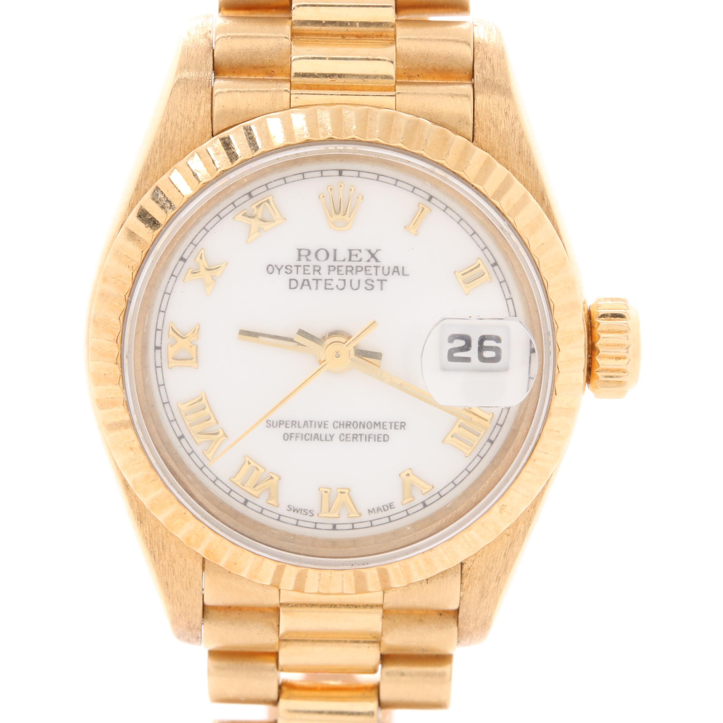 Circa 1999 Rolex Oyster Perpetual Datejust 18K Yellow Gold Wristwatch