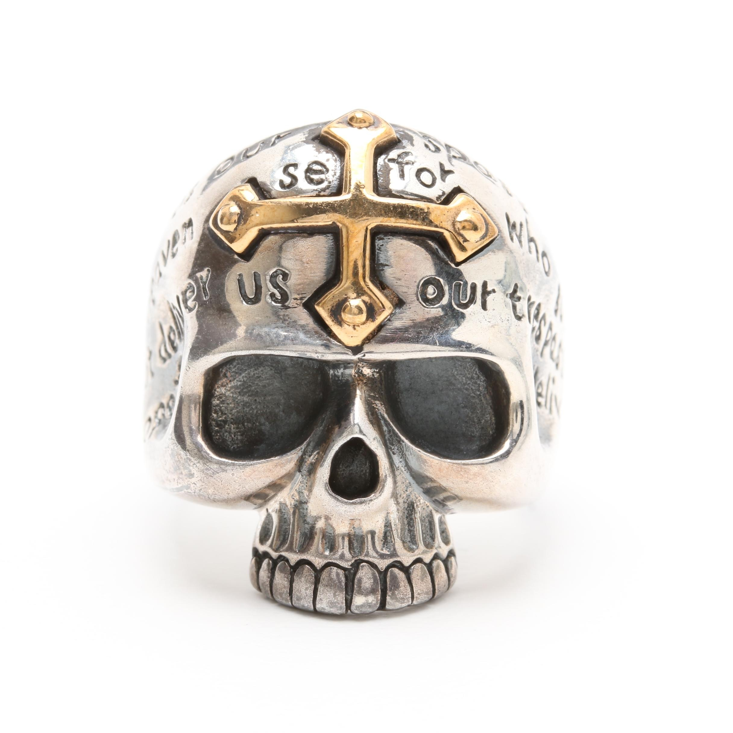 Sterling Silver Skull Ring with Gold Wash Cross Accent