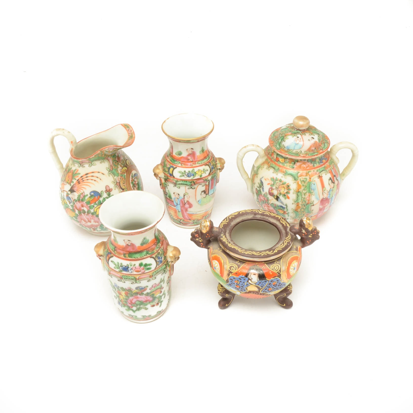Assorted East Asian Hand-Painted Pitcher, Urns, and More