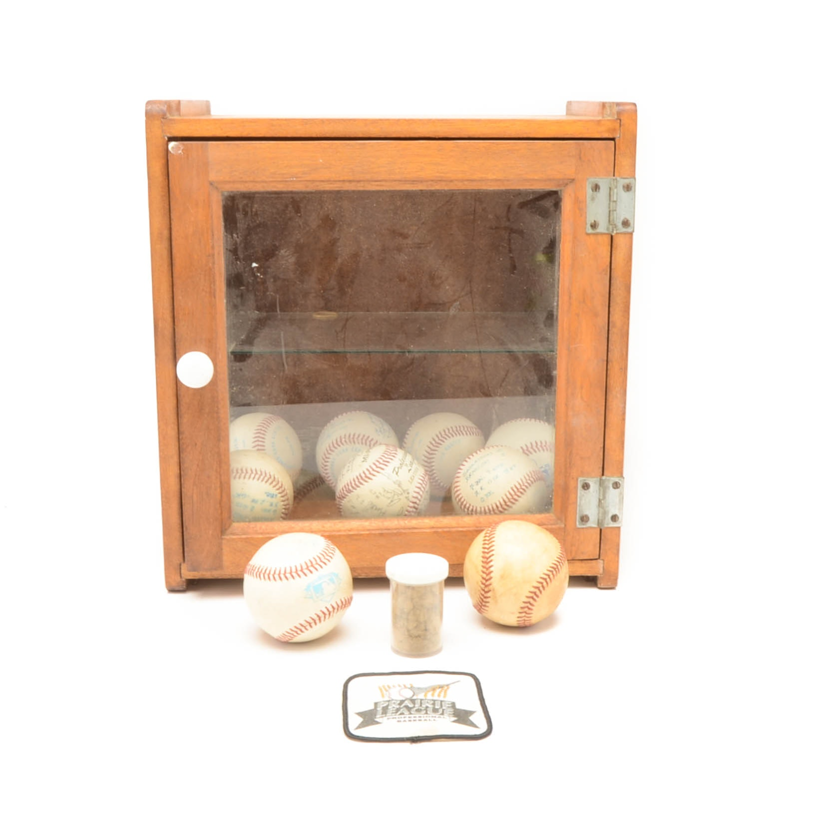 Wood Case with Minor League Baseballs