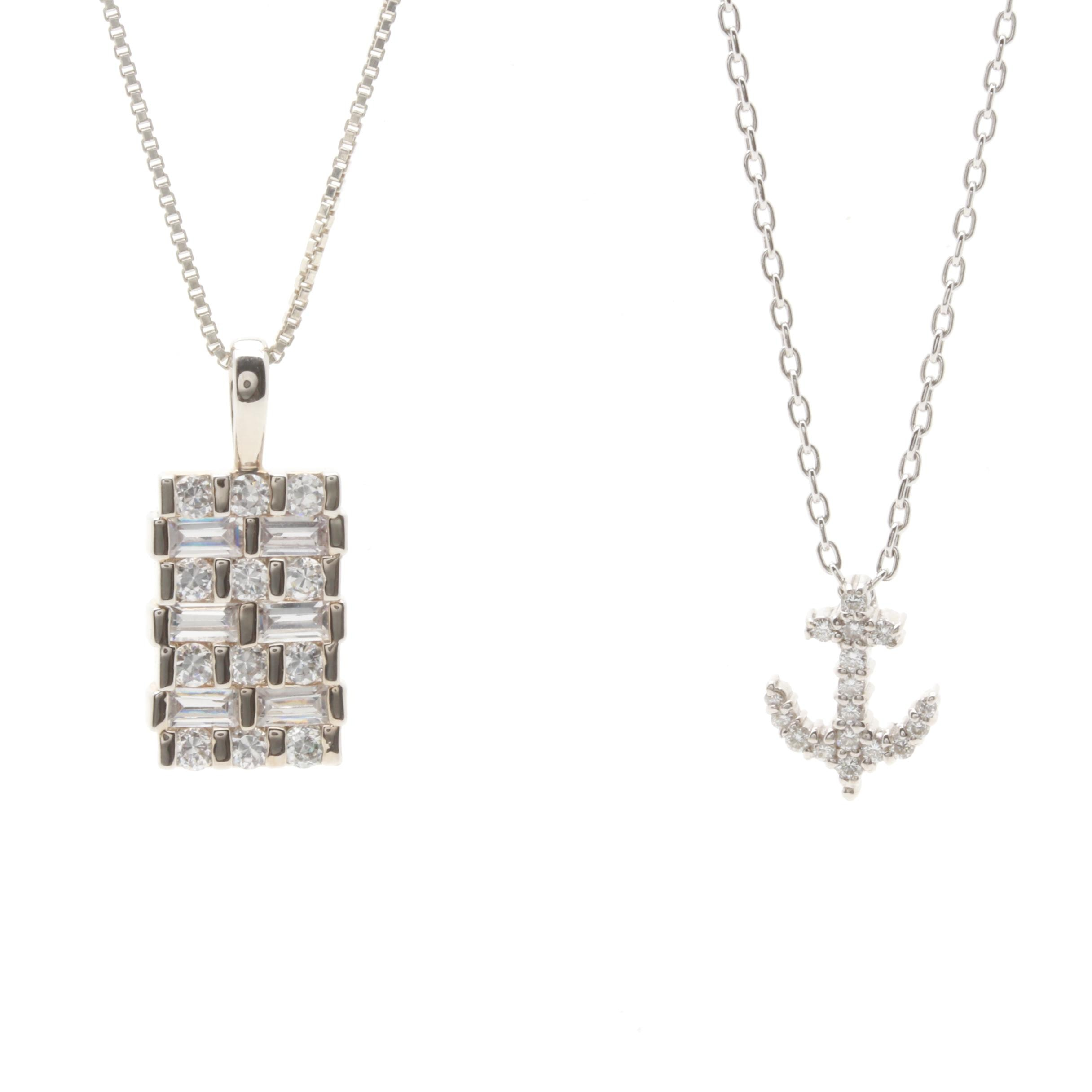 Sterling Silver Cubic Zirconia Necklace Selection Including an Anchor Pendant