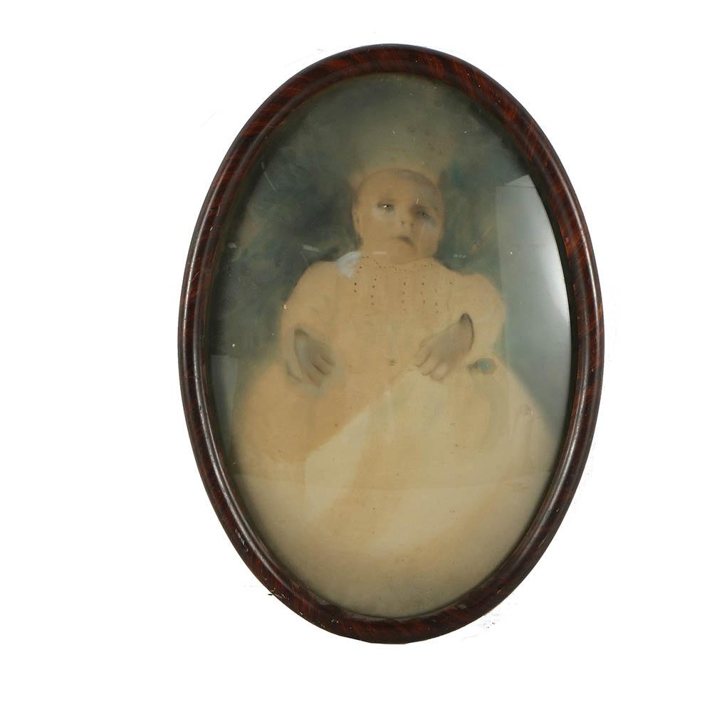 Antique Crayon Portrait of a Baby