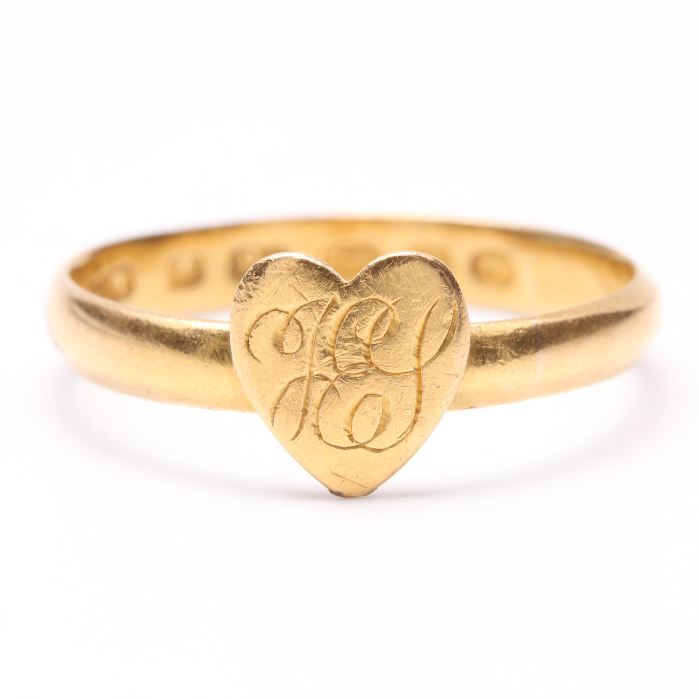 Circa 1878 18K Yellow Gold Monogrammed Heart Ring