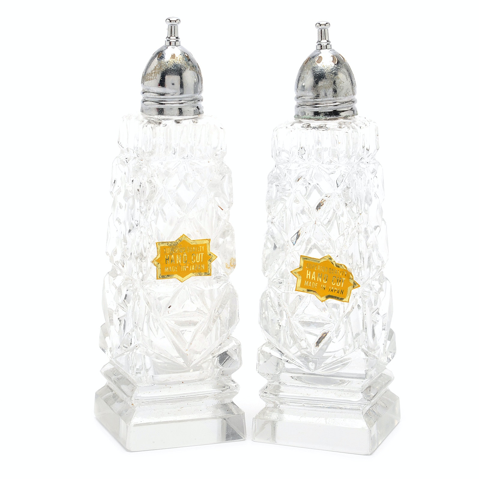 Vintage Hand-Cut Glass Japanese Salt and Pepper Shakers With Box