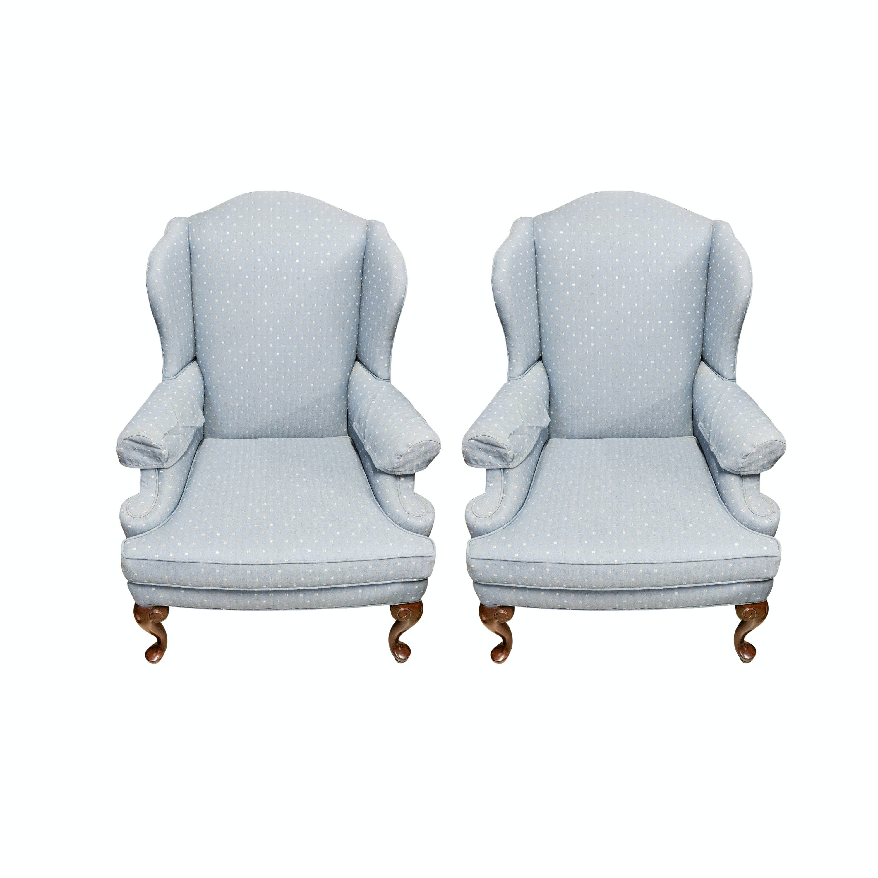 Two Laine Upholstered Wingback Armchairs