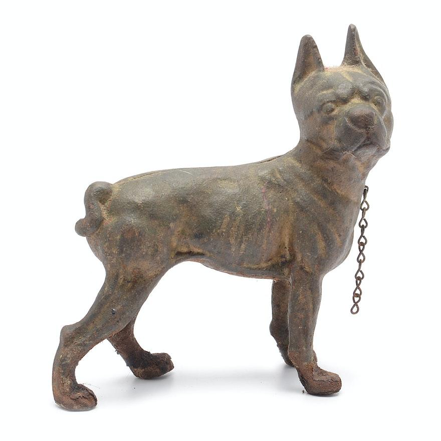 Antique Hubley Style Cast Iron Boston Terrier Doorstop Ebth