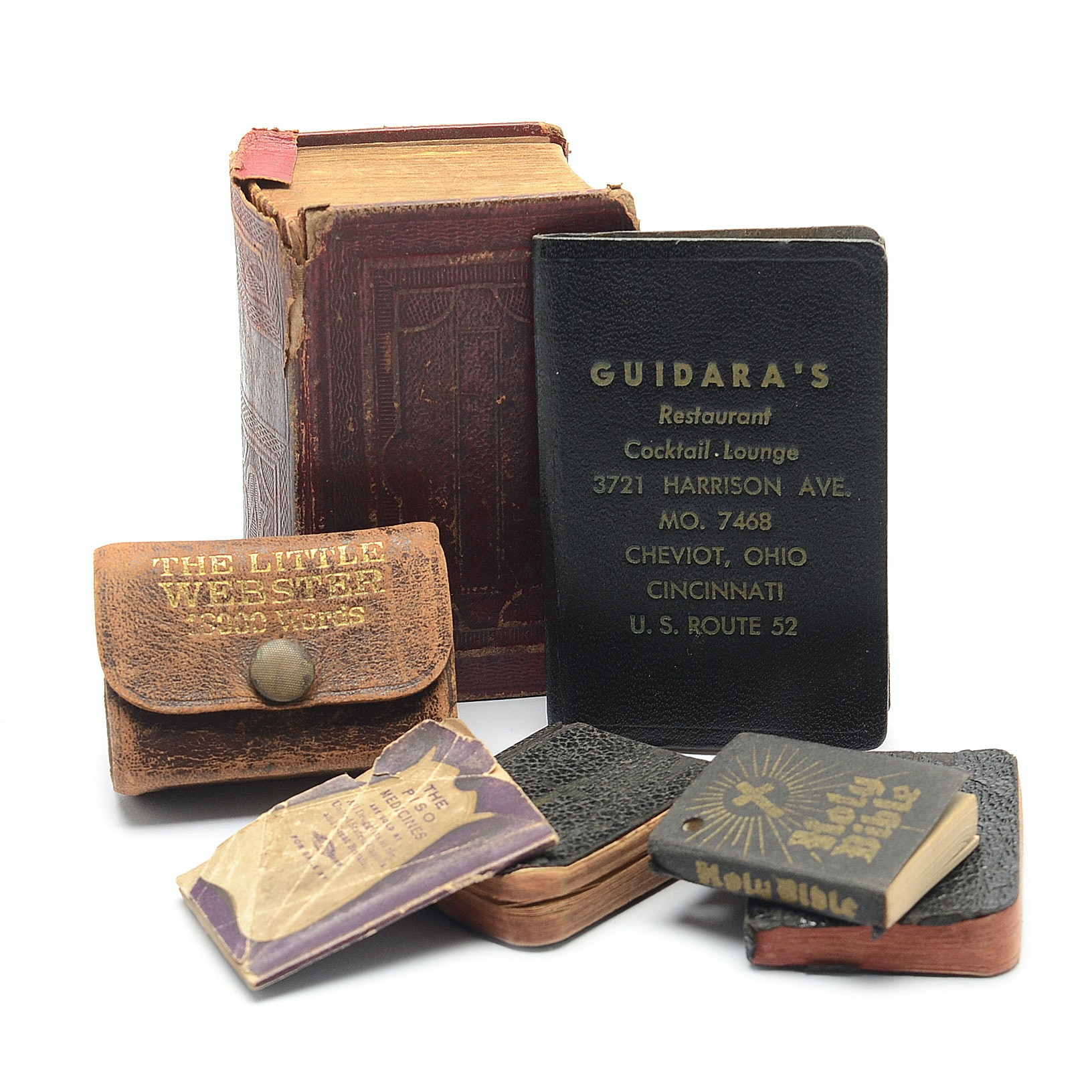 Grouping of Miniature Books, Including Hymnal, Almanac, Dictionary, and Prayer