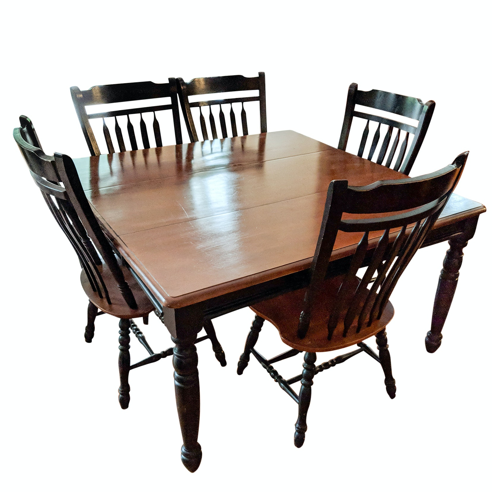 French Country Style Wood Dining Table and Bannister Chairs
