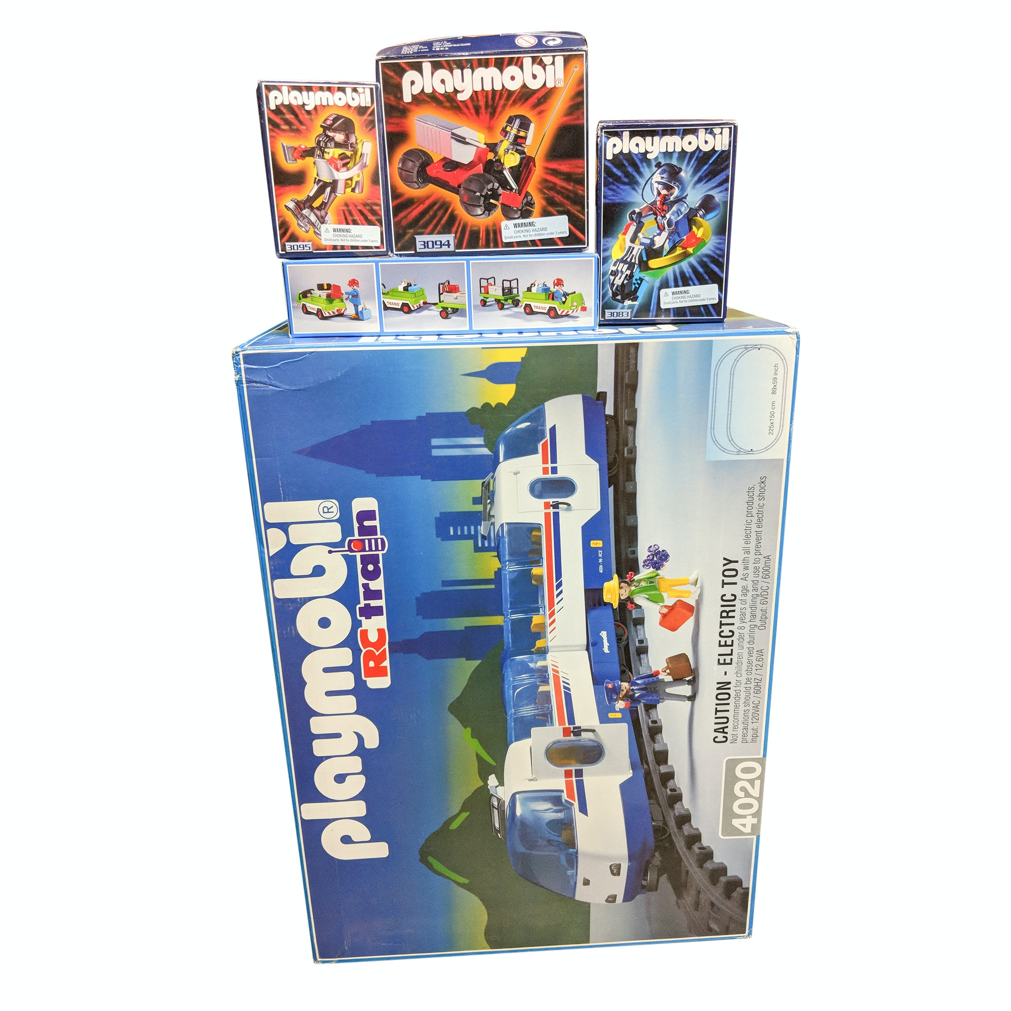 Five Playmobil RC Train and Construction Building Sets, New in Original Boxes