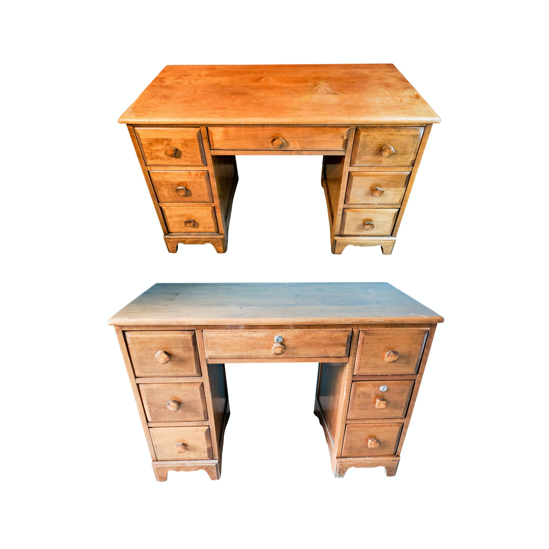 Pair of Vintage Wood Kneehole Student Desks