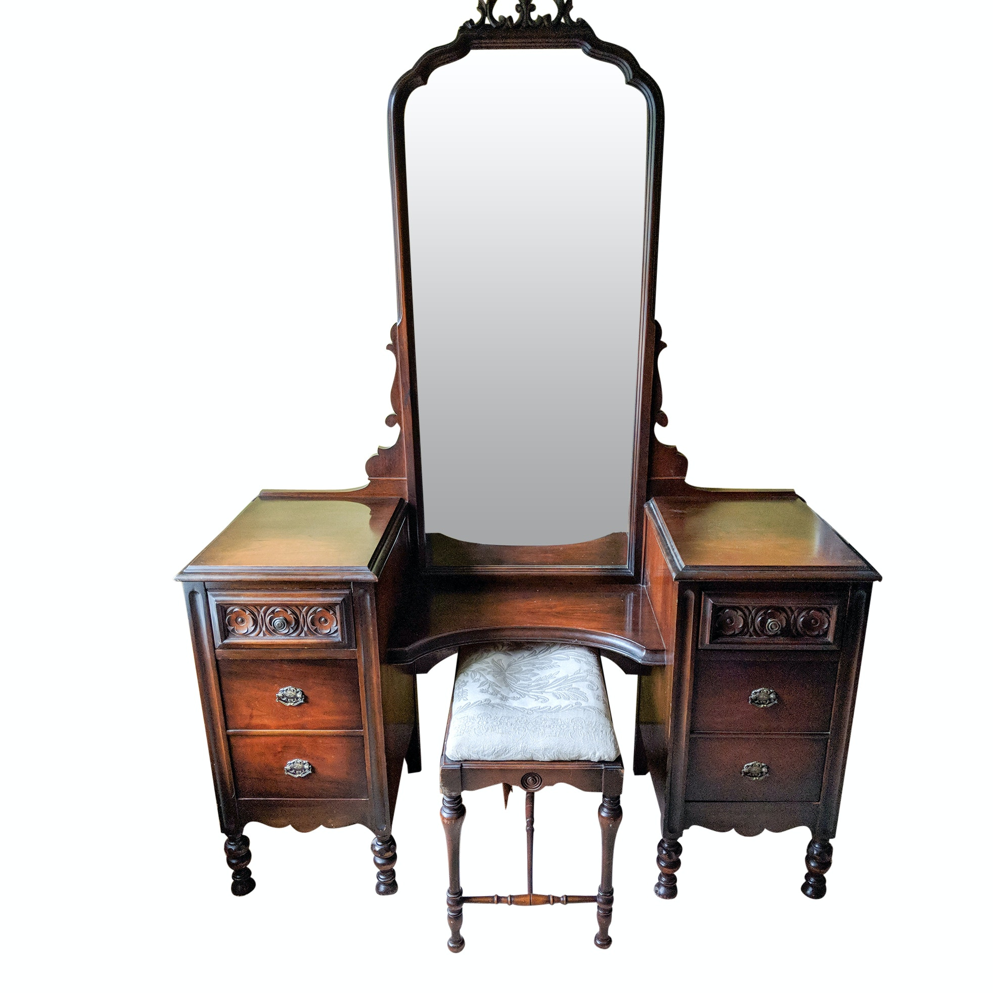 Carved Mahogany Vanity with Mirror and Upholstered Stool by J. B. Van Sciver