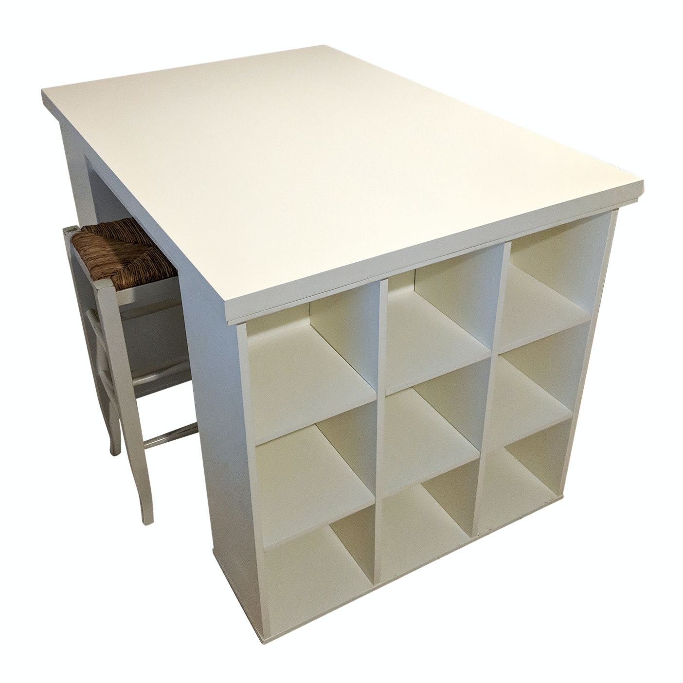 Pottery Barn Storage Utility Desk and Two Wood Stools with Woven Rattan Seats