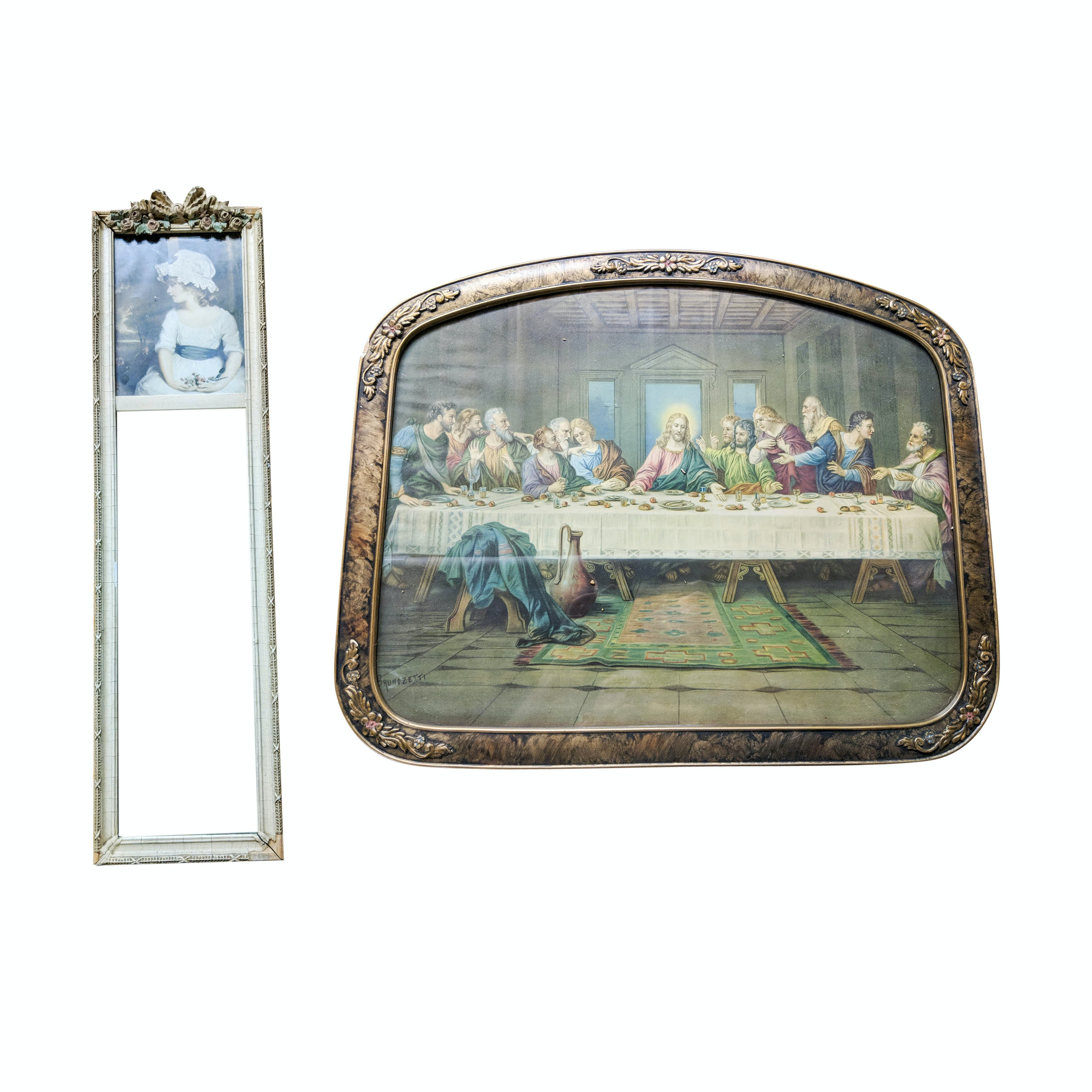 Antique Last Supper Lithograph and Composite Framed Wall Mirror