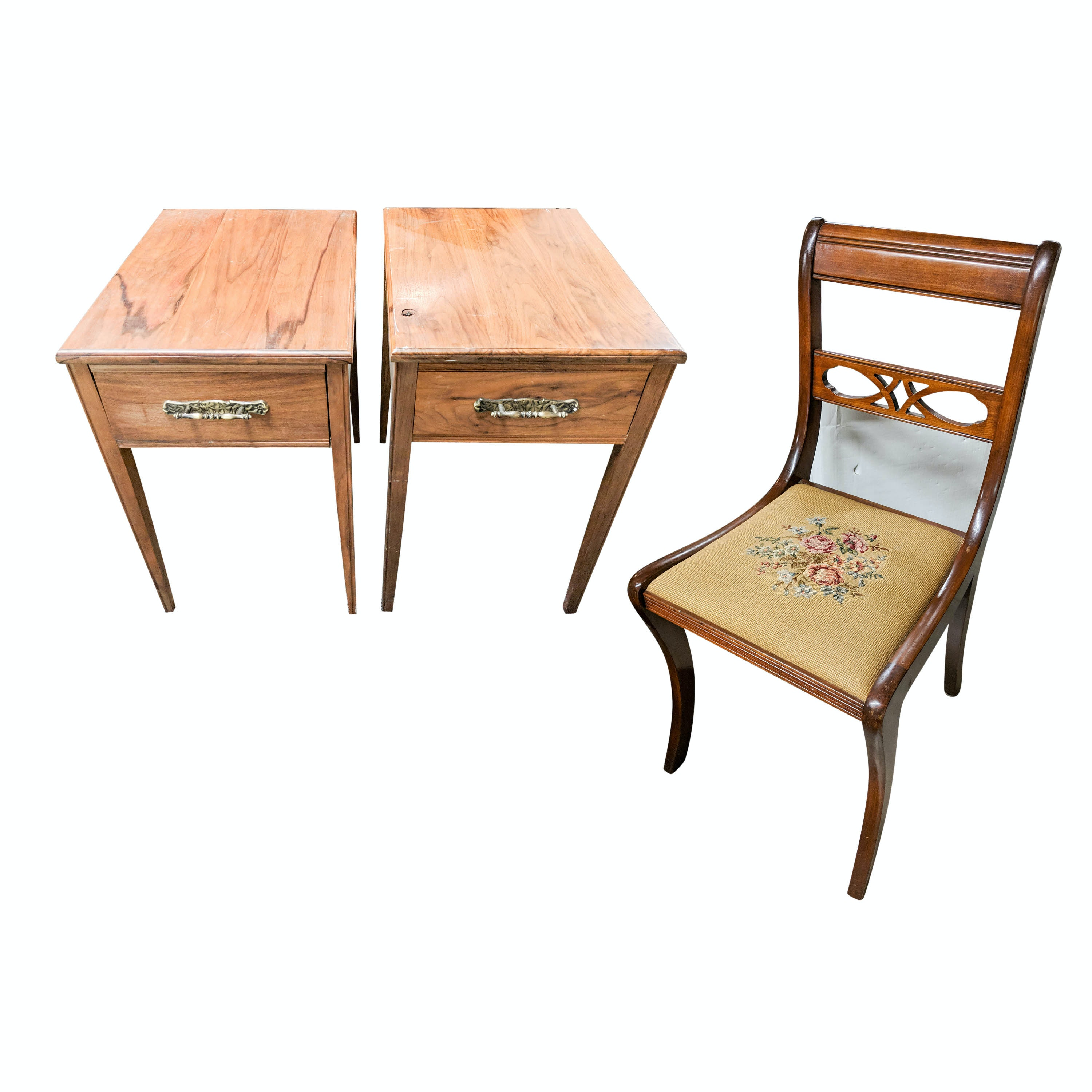 Vintage Needlepoint Chair and Handcrafted Walnut End Tables