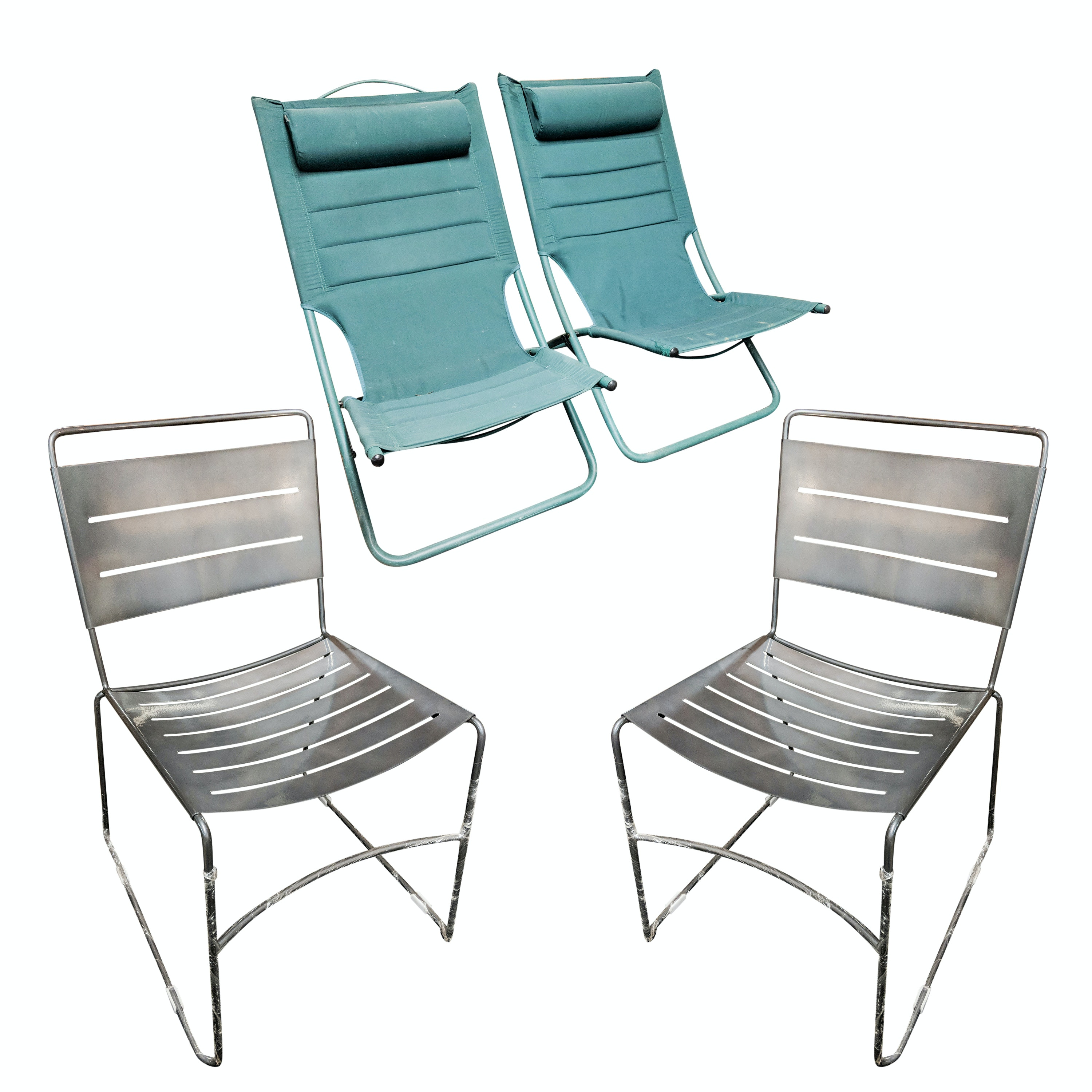 Four Metal Patio Stacking Chairs and Two Fabric Lounge Chairs
