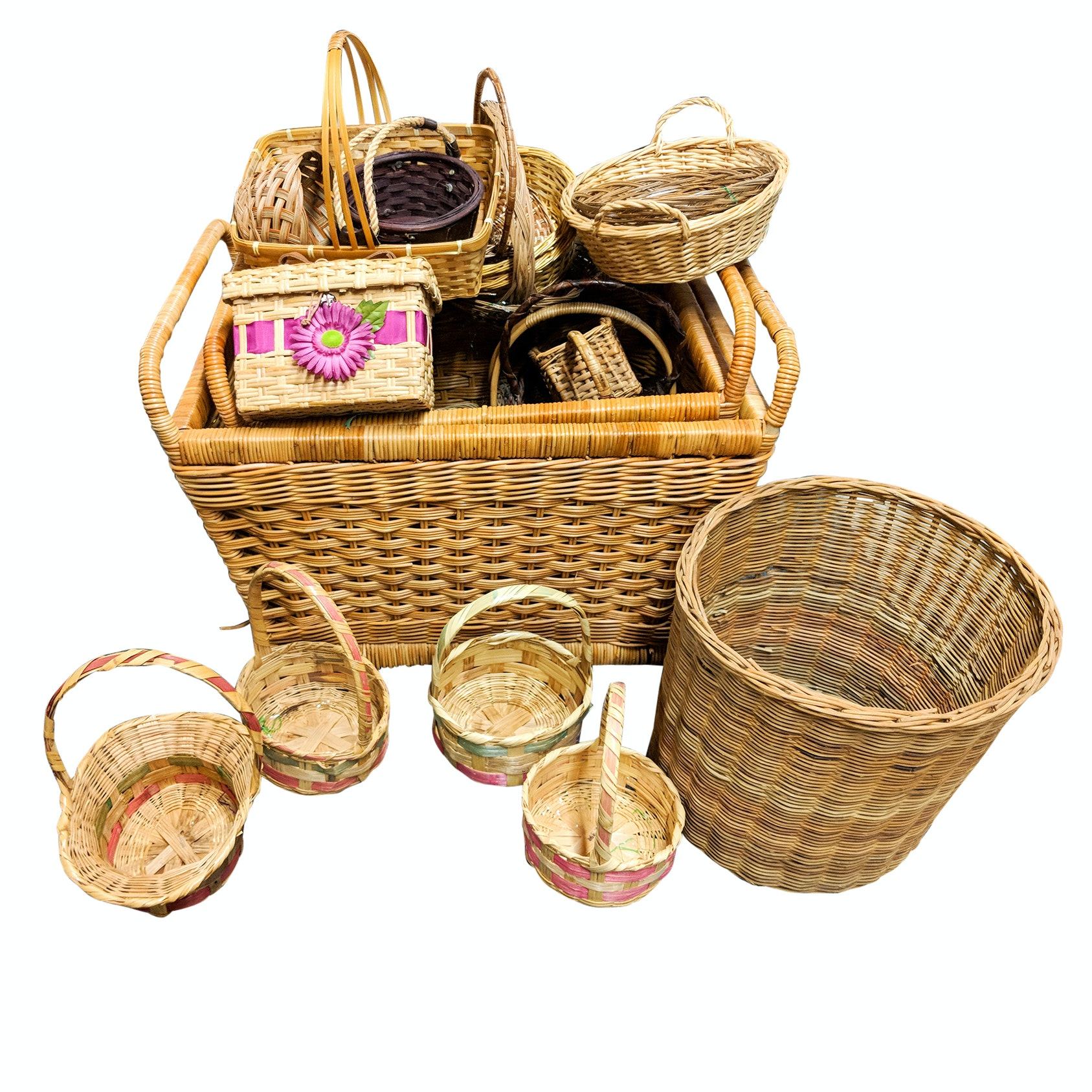 Generous Assortment of Thirty-Five Wicker Baskets
