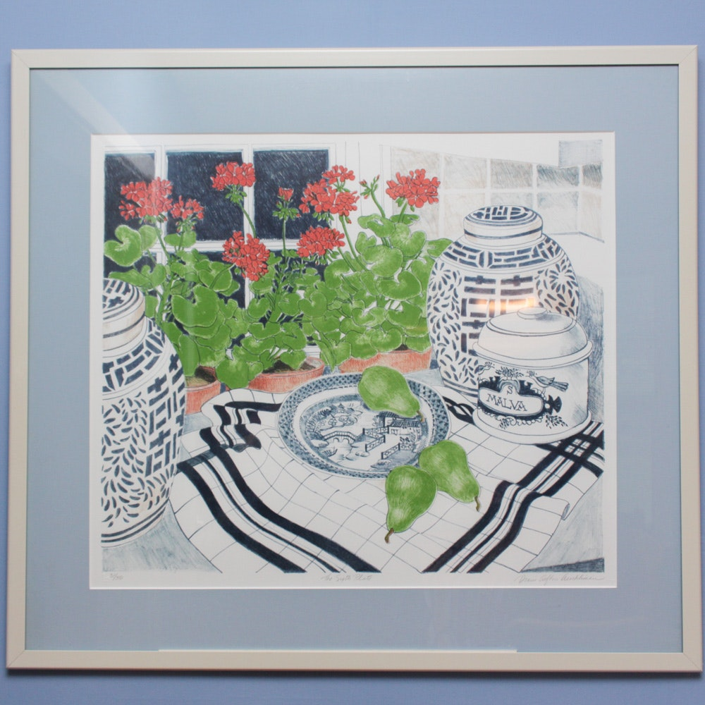 """Signed Limited Edition Lithograph """"The Sixth Plate"""" by Diane Afton Aeschliman"""