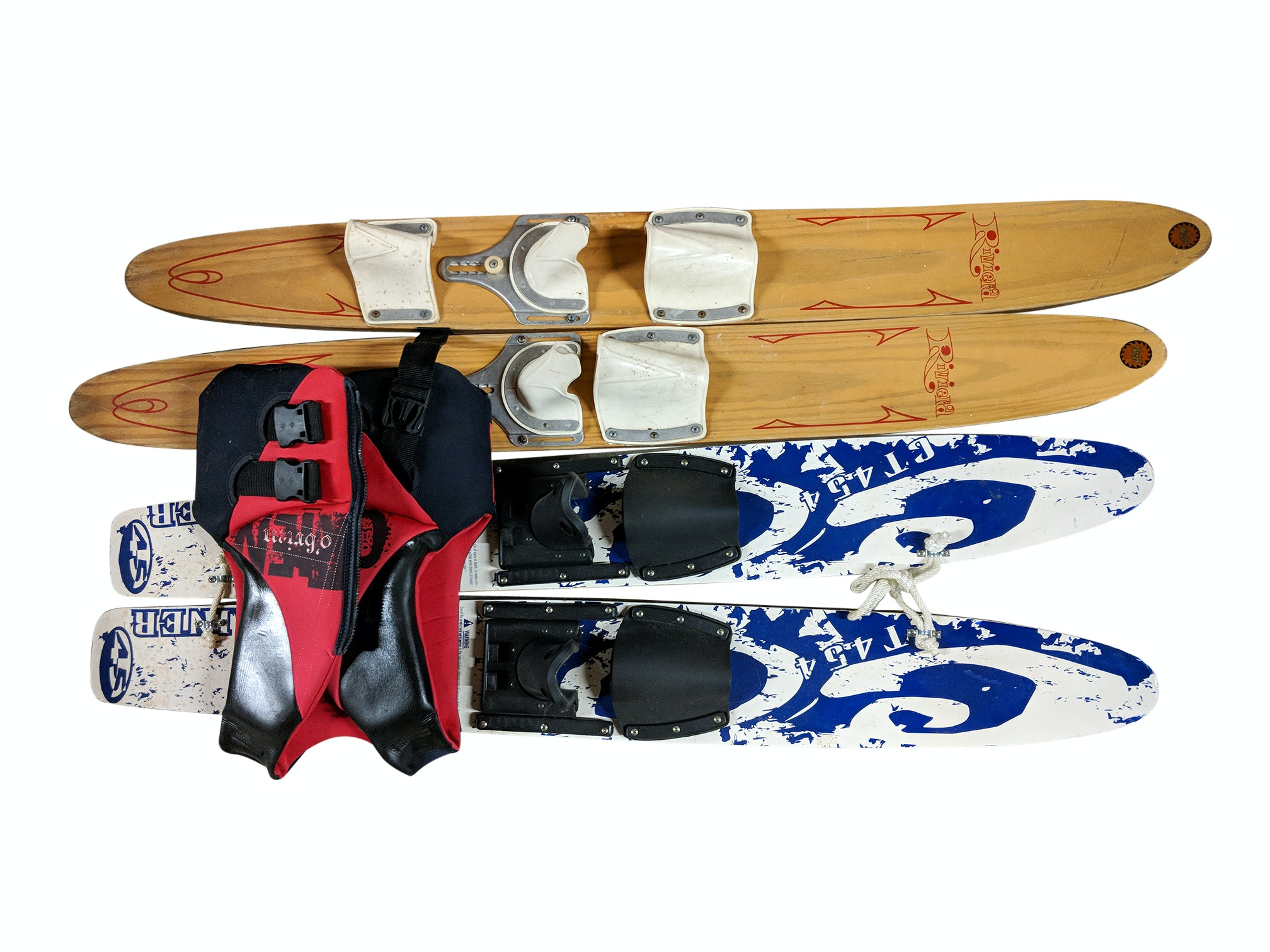Beginner Trainer Skis, Trainer Kneeboard, Ski Jackets and Wooden Water Skis