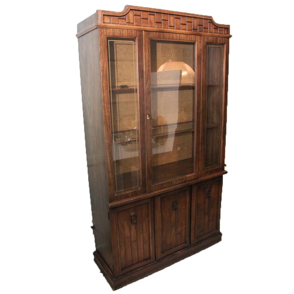 Vintage Wood Veneer China Cabinet