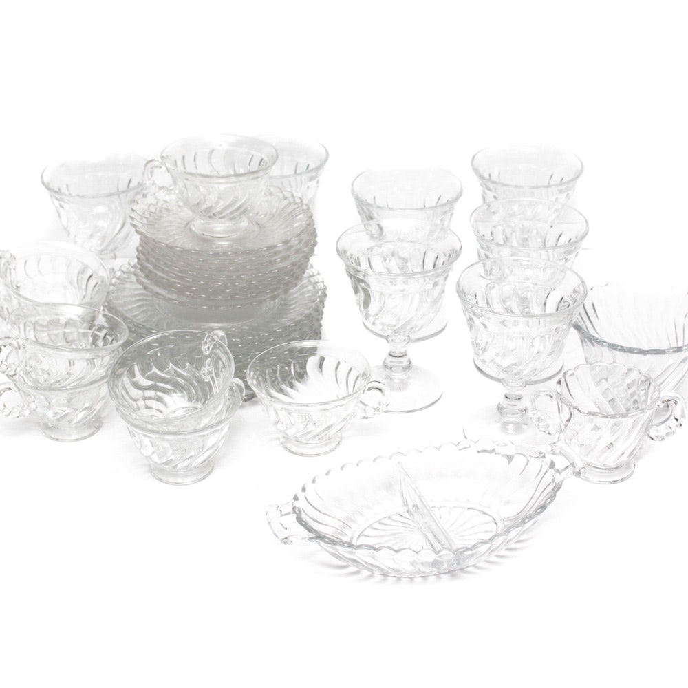 "Vintage Fostoria ""Colony"" Pressed Glass Luncheon Set"