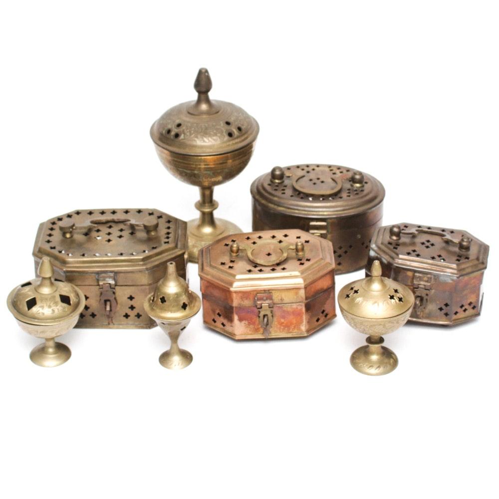 Vintage Indian Brass Incense Burners