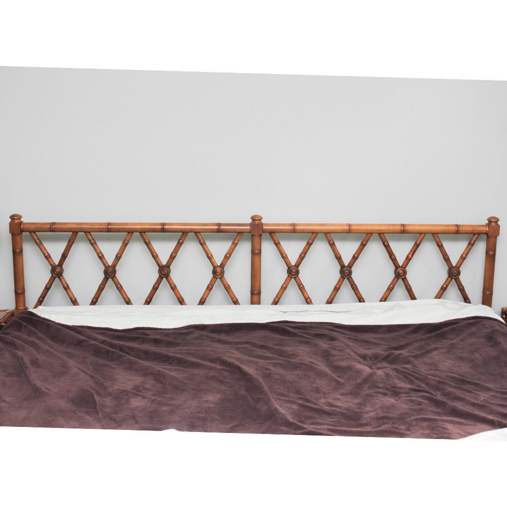 Vintage Bamboo-Style Wooden King Size Bed Frame