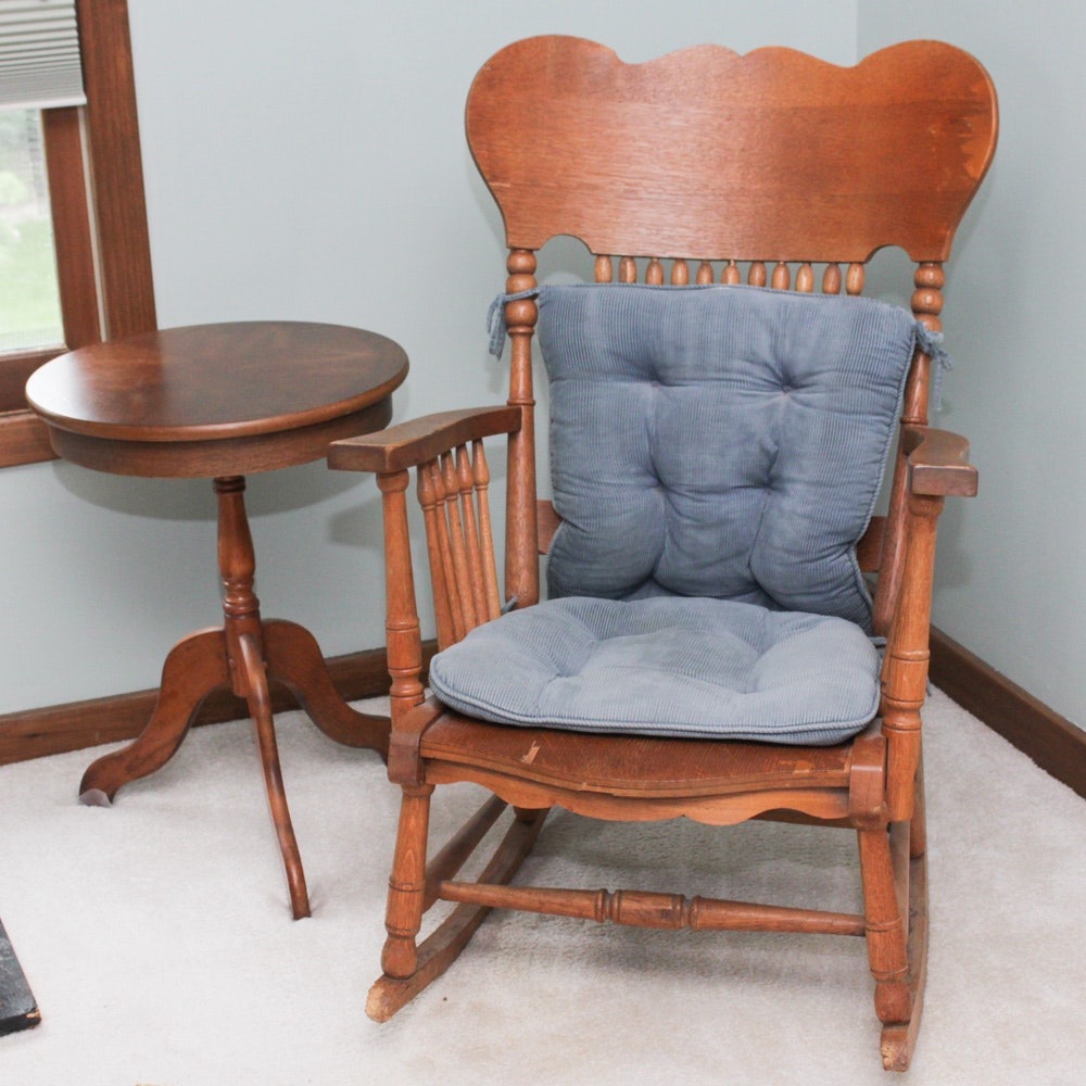 Antique Wood Rocking Chair and Accent Table