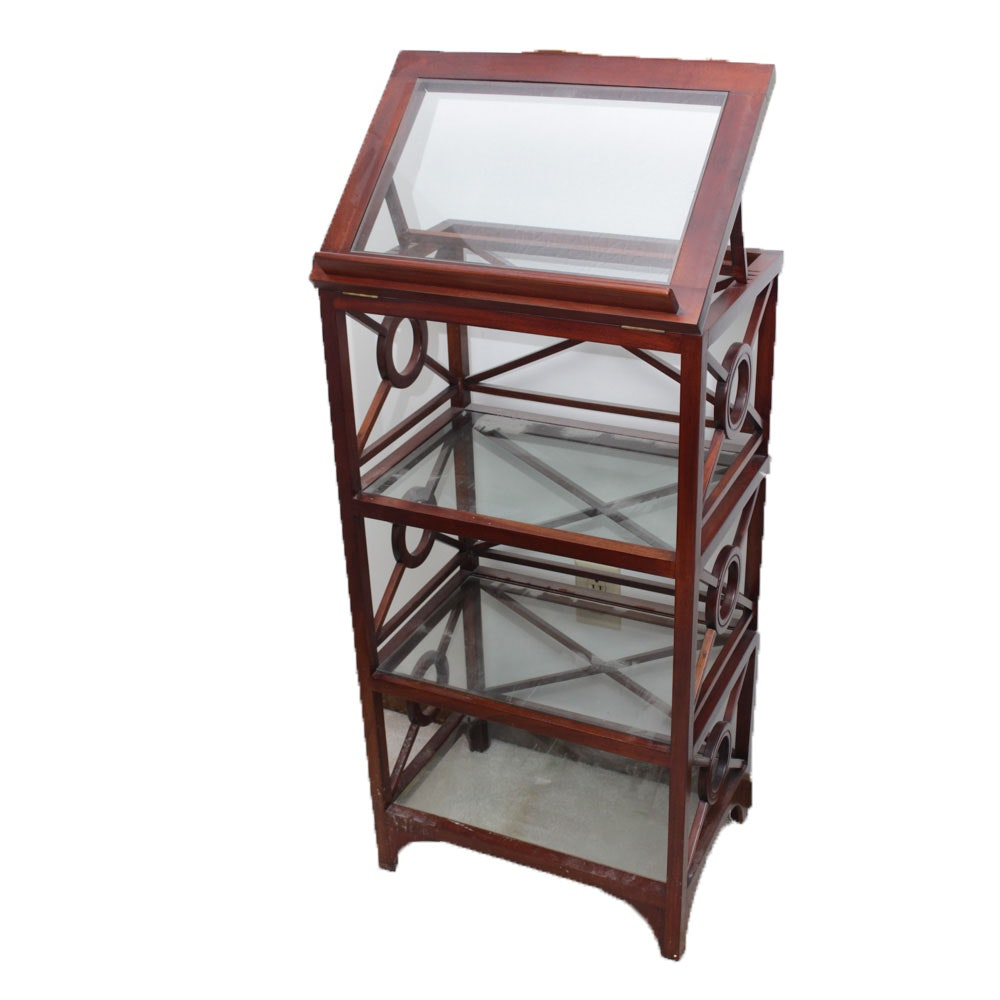 Wood and Glass Bookshelf with Lectern