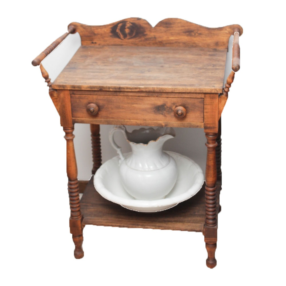 Antique Washstand with Ewer and Basin