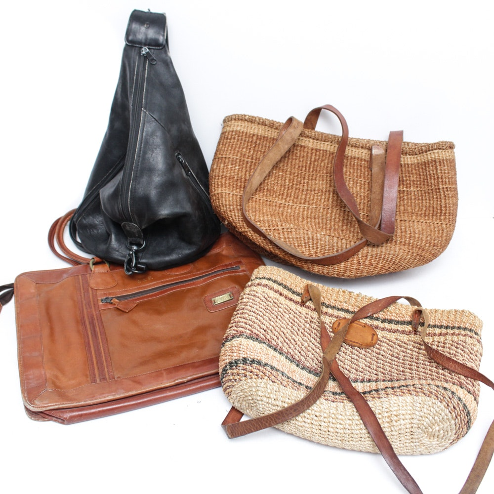 Vintage Leather and Woven Straw Bags