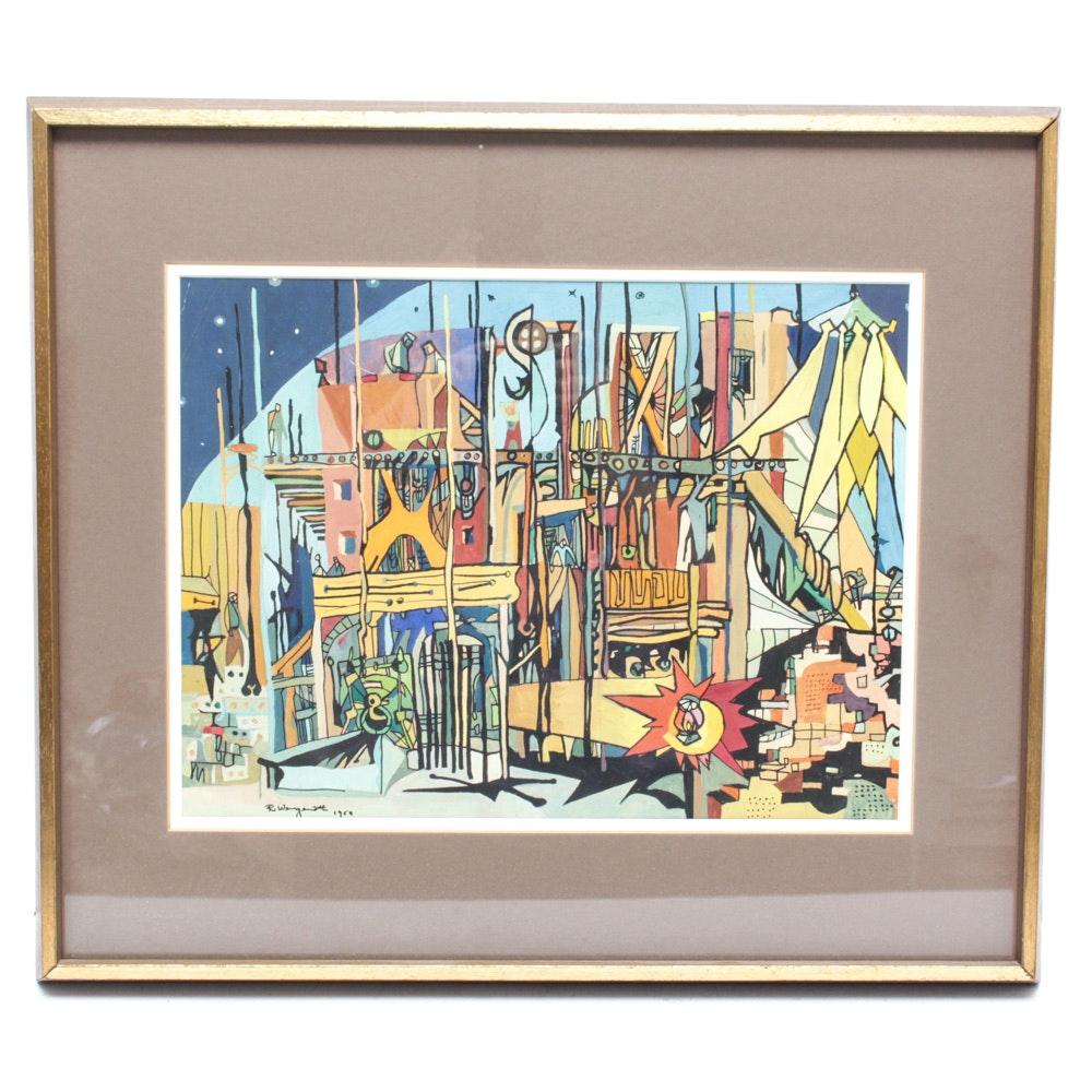 Robert Wengenroth Gouache on Paper Painting