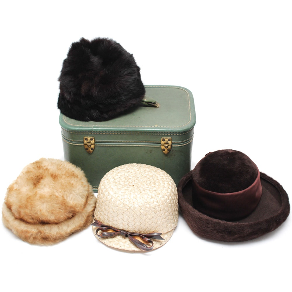 Vintage Faux Fur, Felted and Woven Cellophane Hats and Case