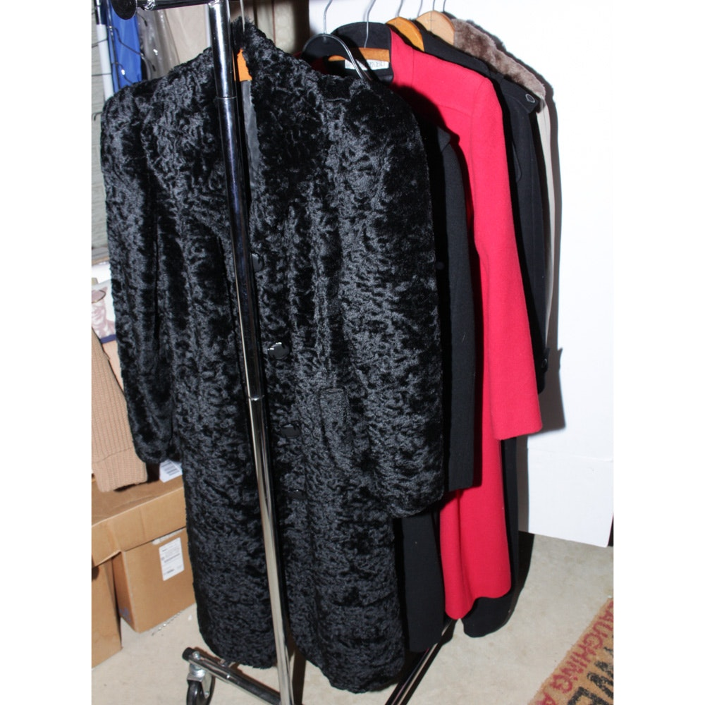 Vintage Outerwear Featuring Black Faux Persian Lamb Fur Coat and Lazarus