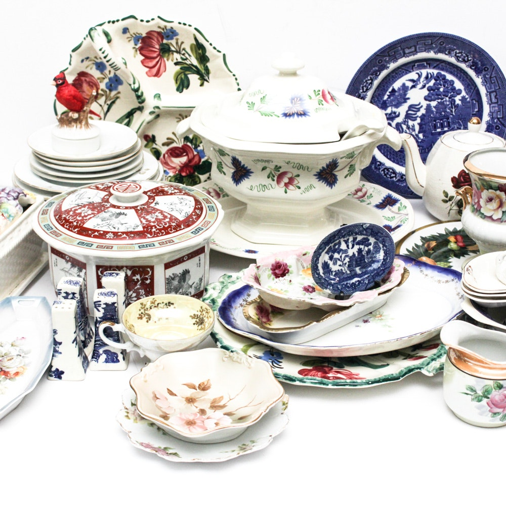 VintageCeramic and Porcelain Painted and Transfer Decorated Tableware Collection