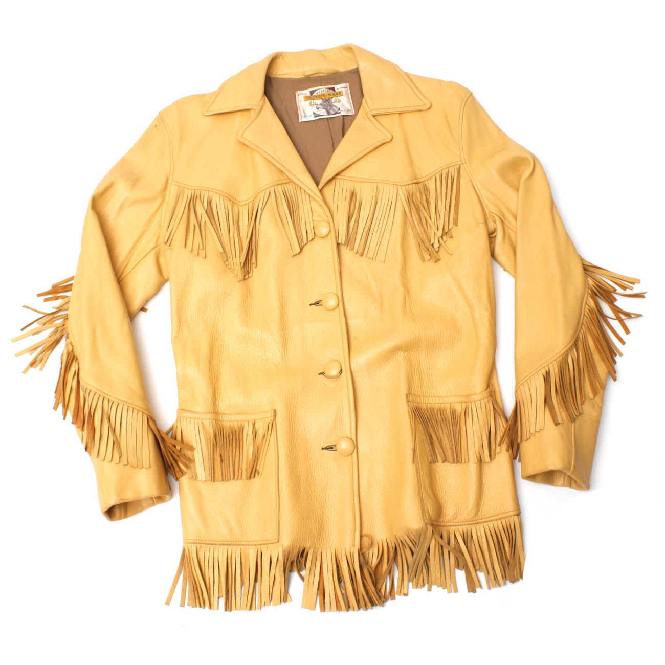Women's Custom-Made Deer Skin Leather Fringe Jacket