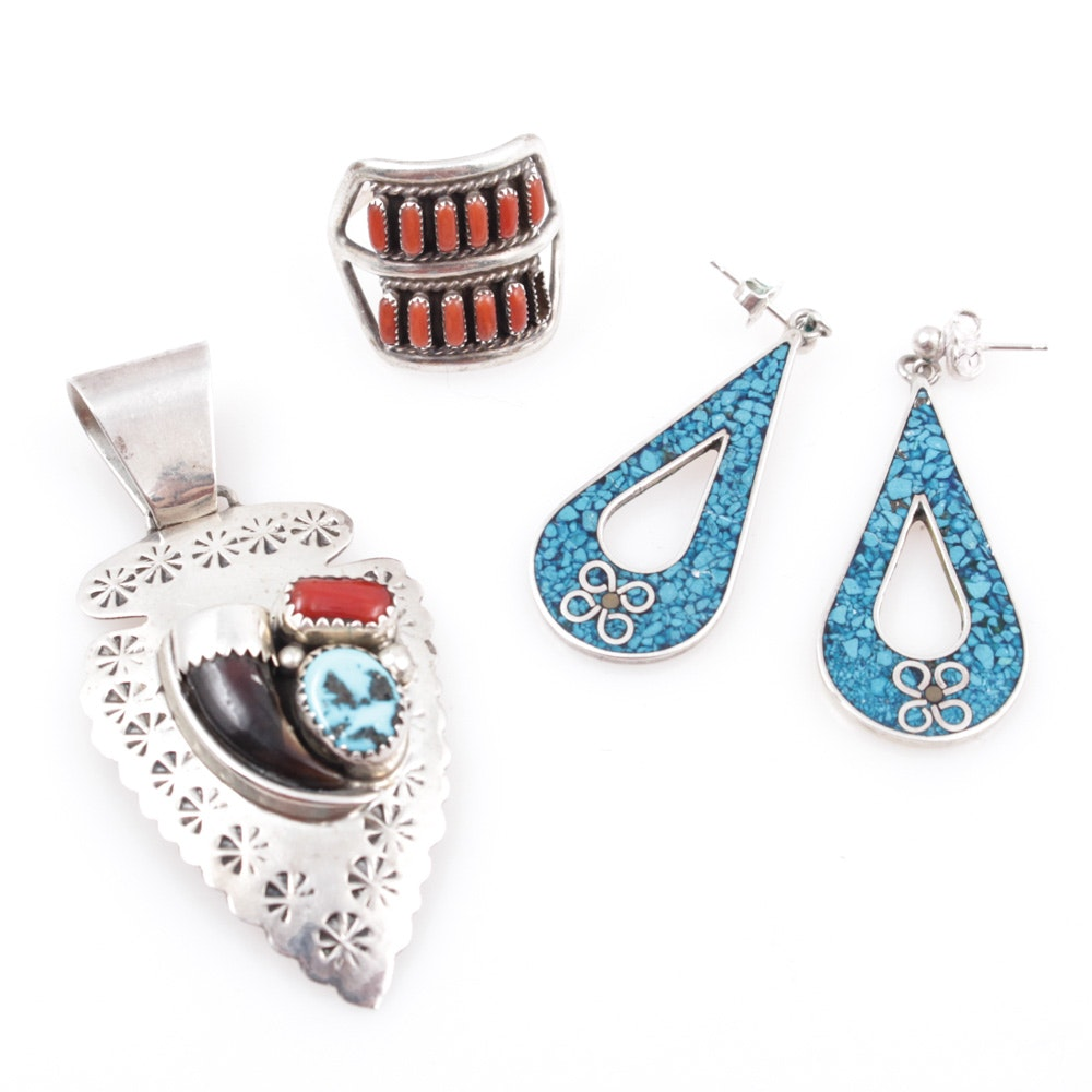 Sterling Silver, Turquoise, Coral, and Claw Southwest-Style Jewelry