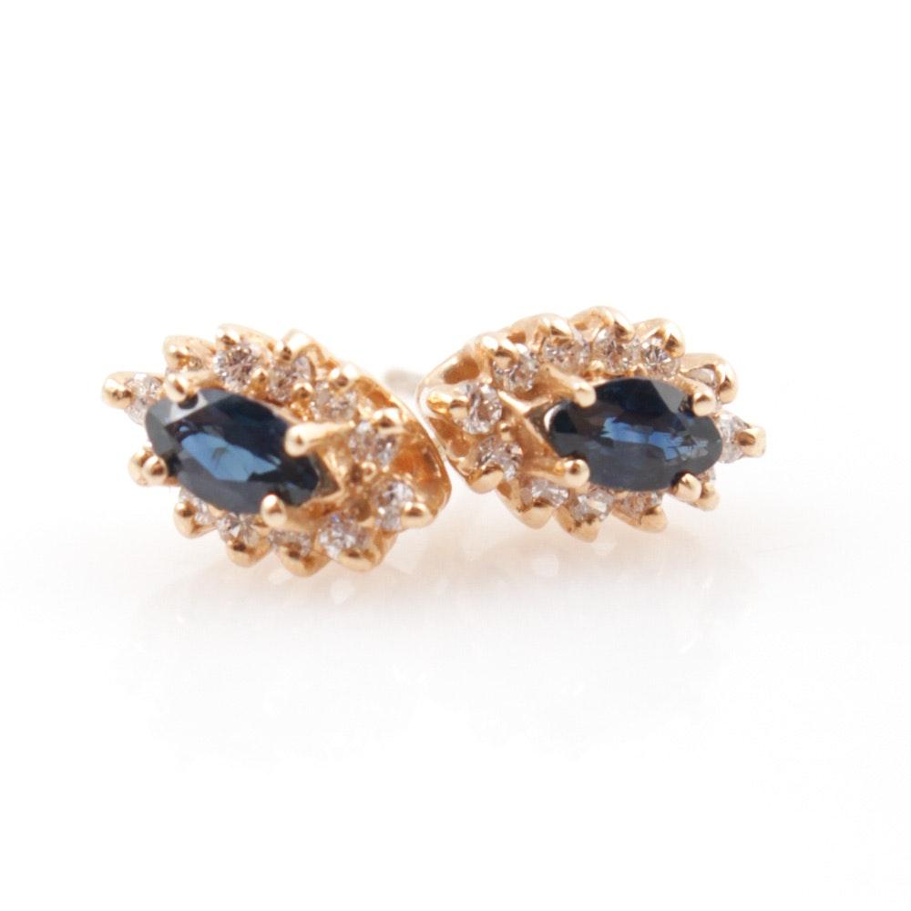 14K Gold, Sapphire, and Diamond Earrings
